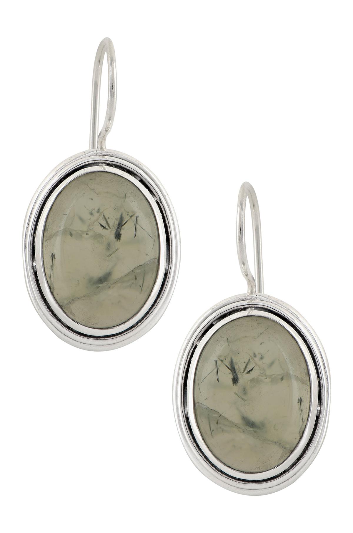 Silver Phosphophyllite Oval Earrings