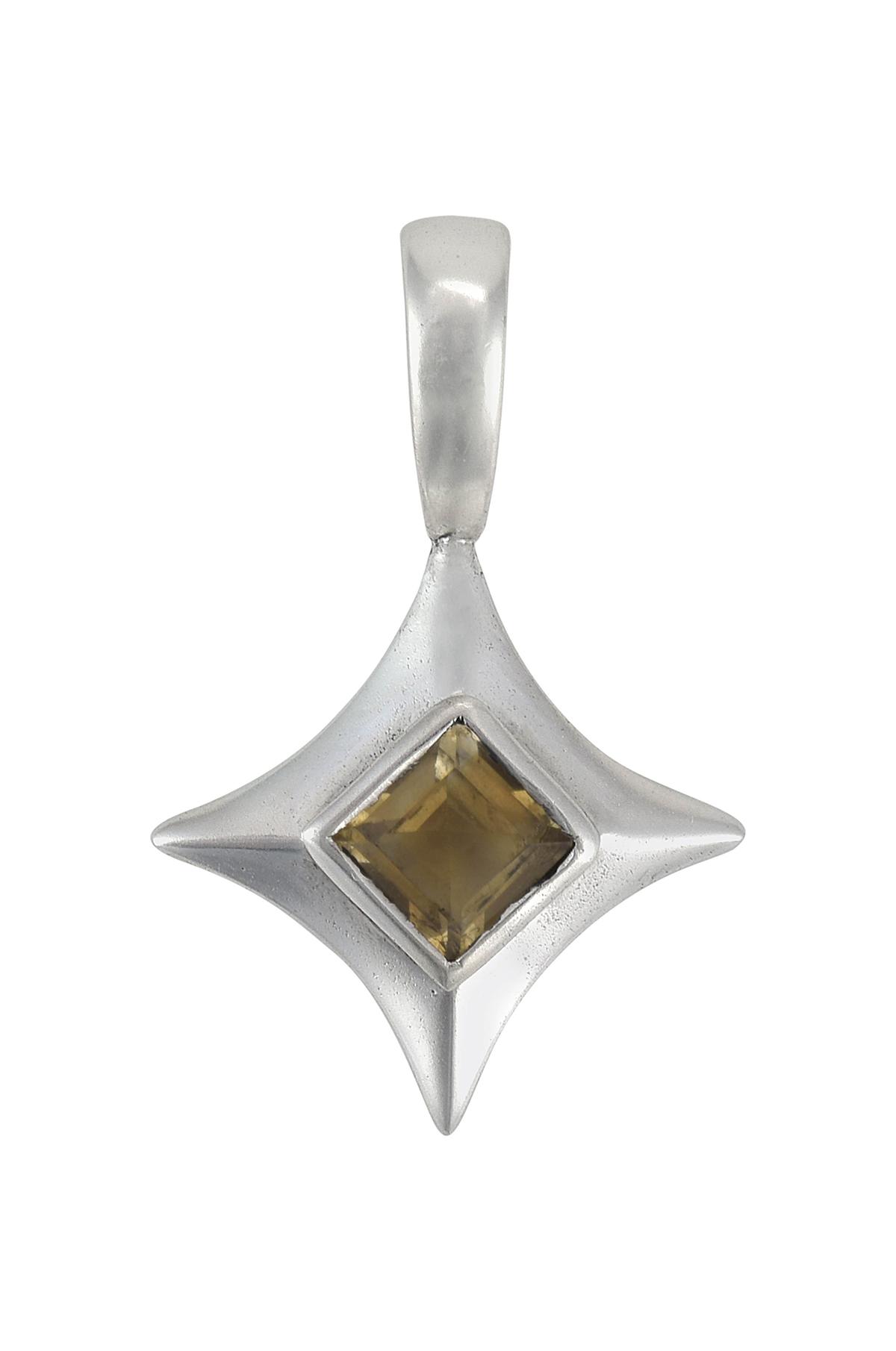 Silver Square Citrine Pendant
