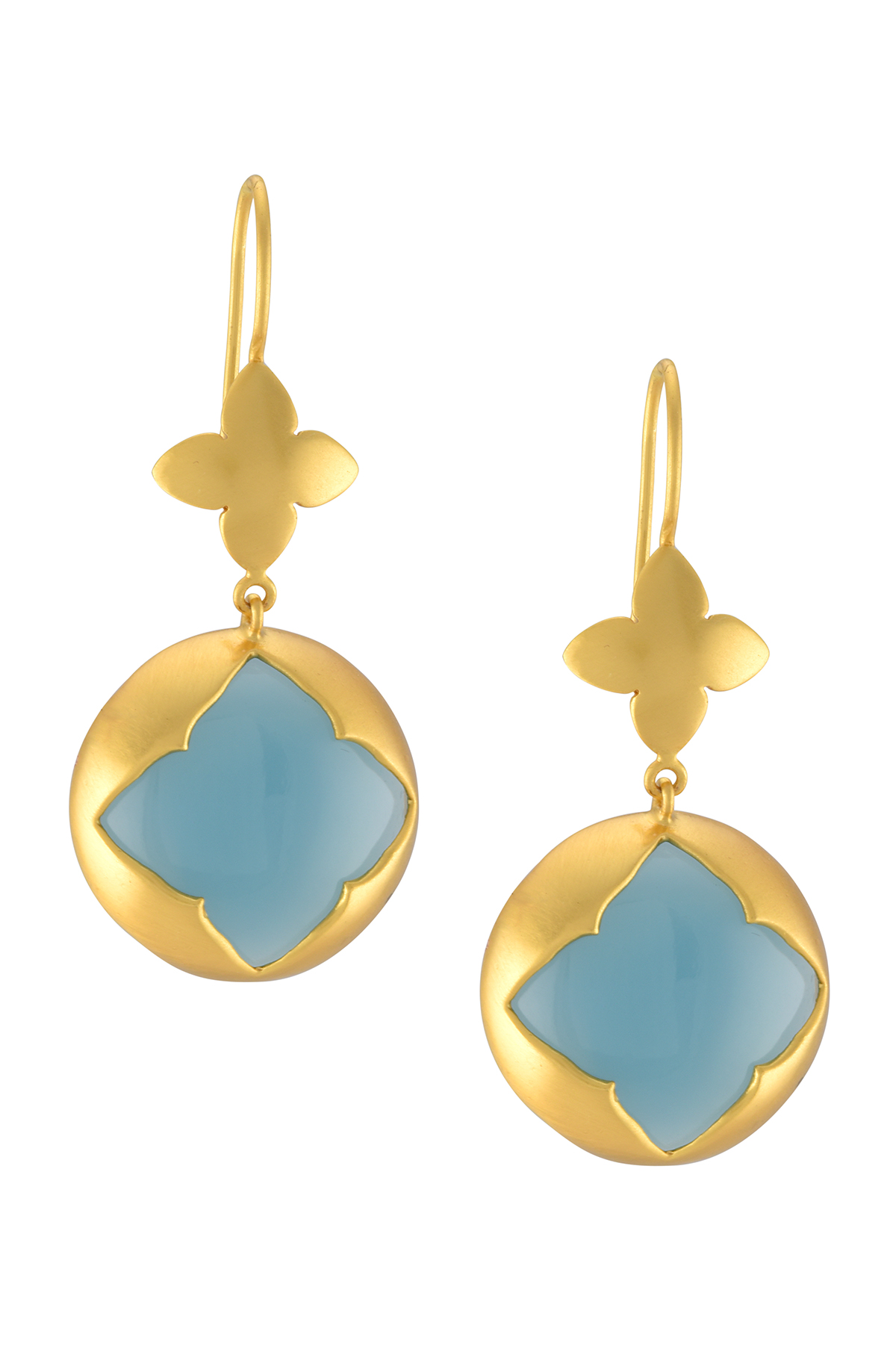 Silver Gold Plated Floral Aqua Chalcedony Earrings