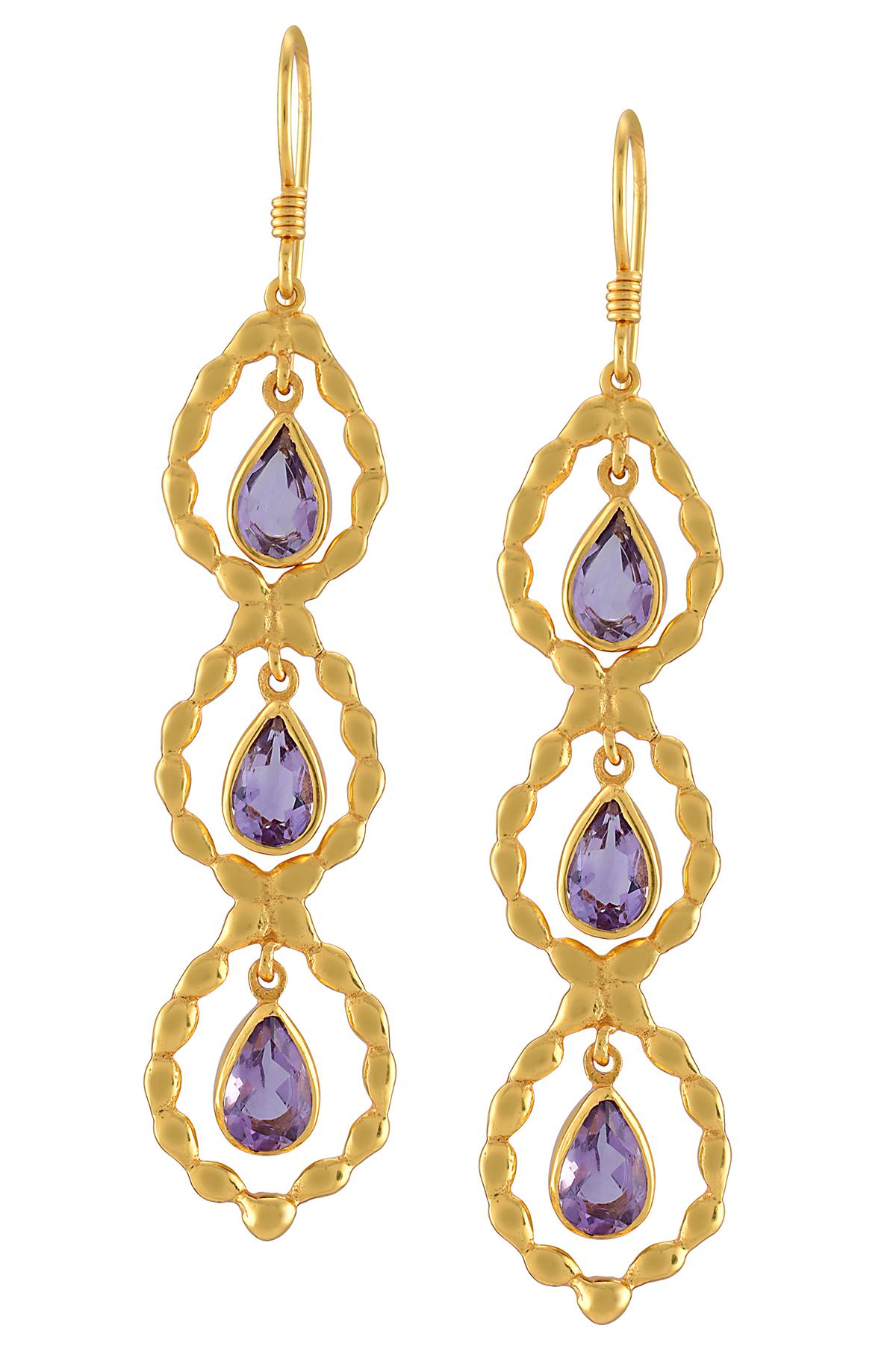 Pear Amethyst Hook Earrings