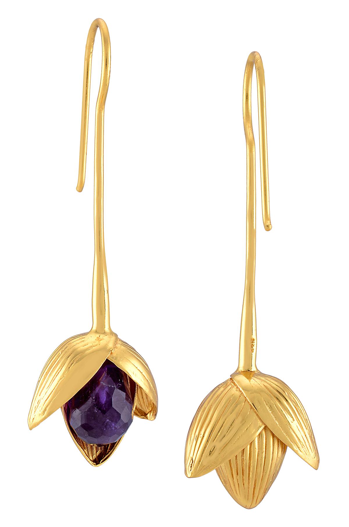 Amethyst Flower Hook Earrings