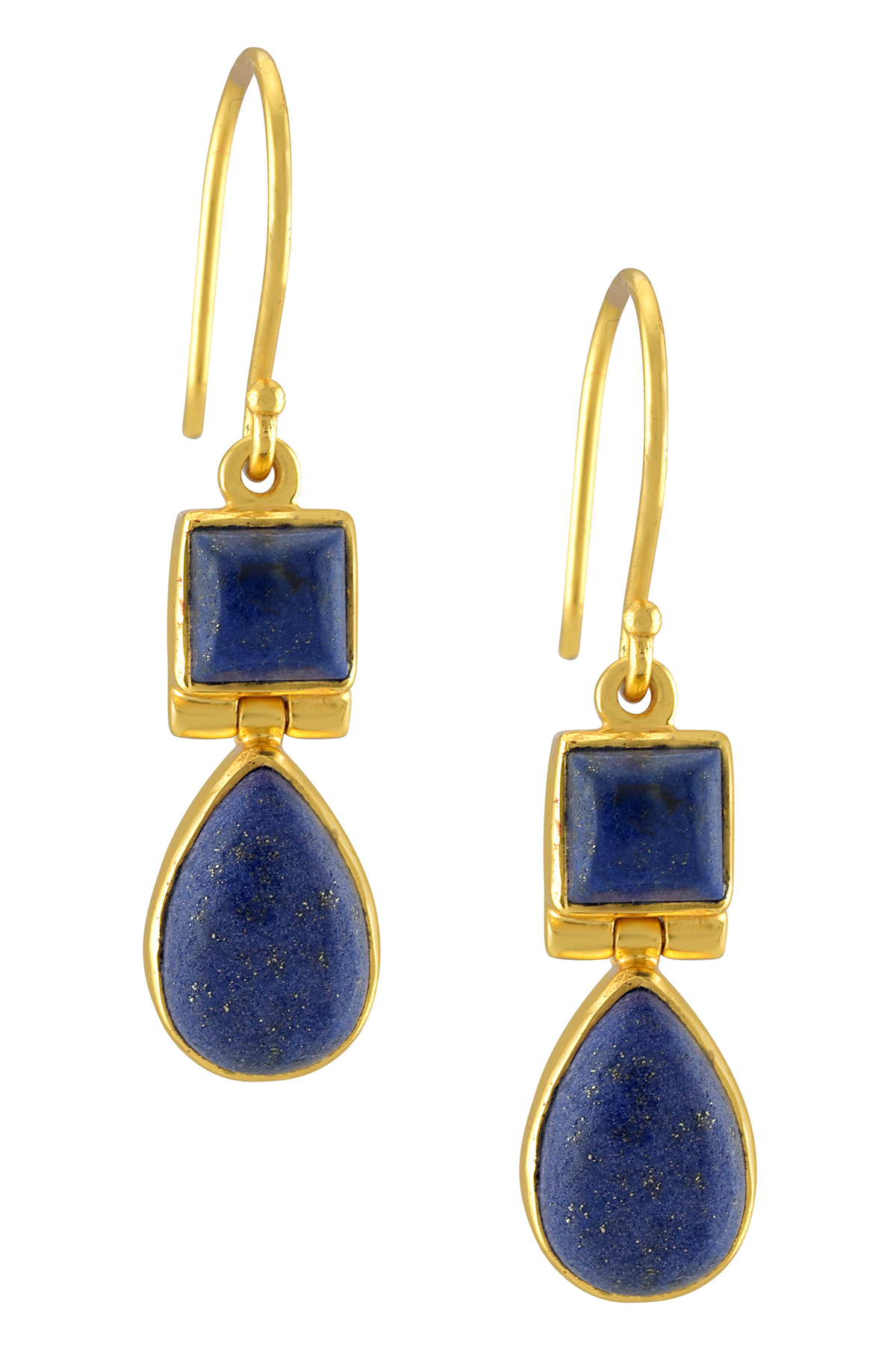 Silver Gold Plated Lapis Square Pear Earrings