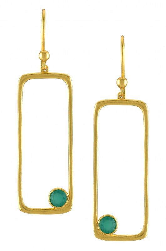 Silver Gold Plated Green Rectangle Earrings