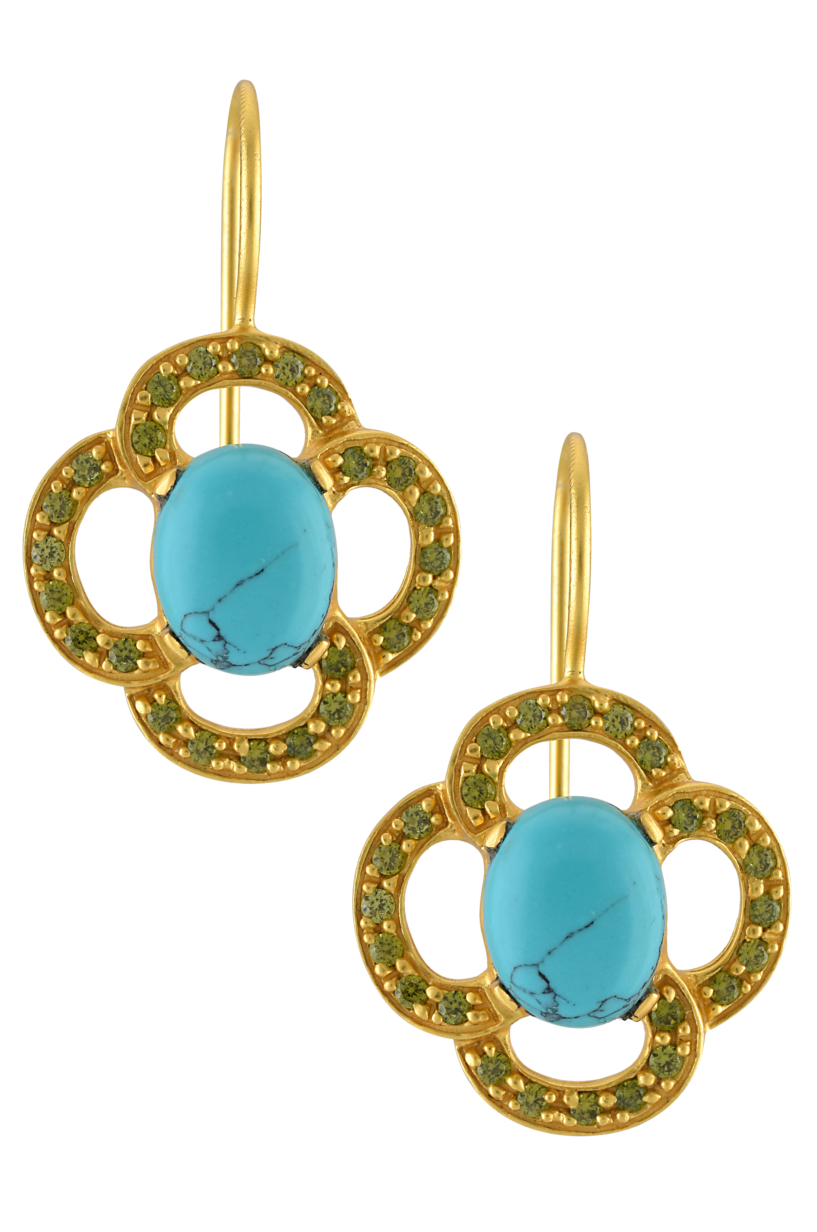 Silver Gold Plated Floral Zircon Turquoise Earrings