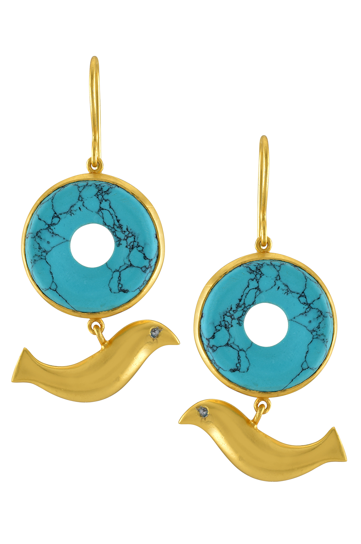 Silver Gold Plated Round Turquoise Bird Drop Earrings