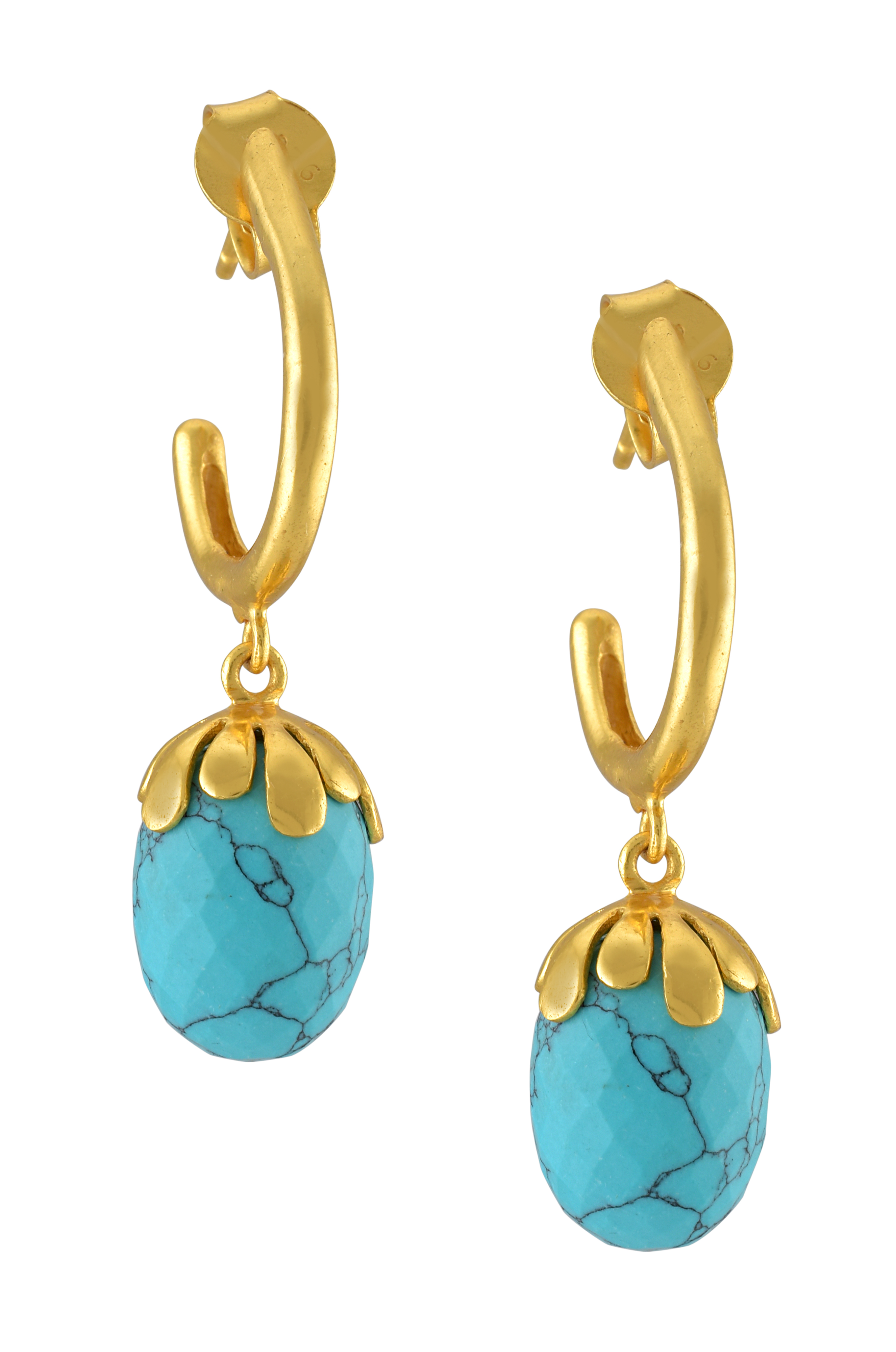Silver  Gold Plated floral Turquoise Drop Earrings