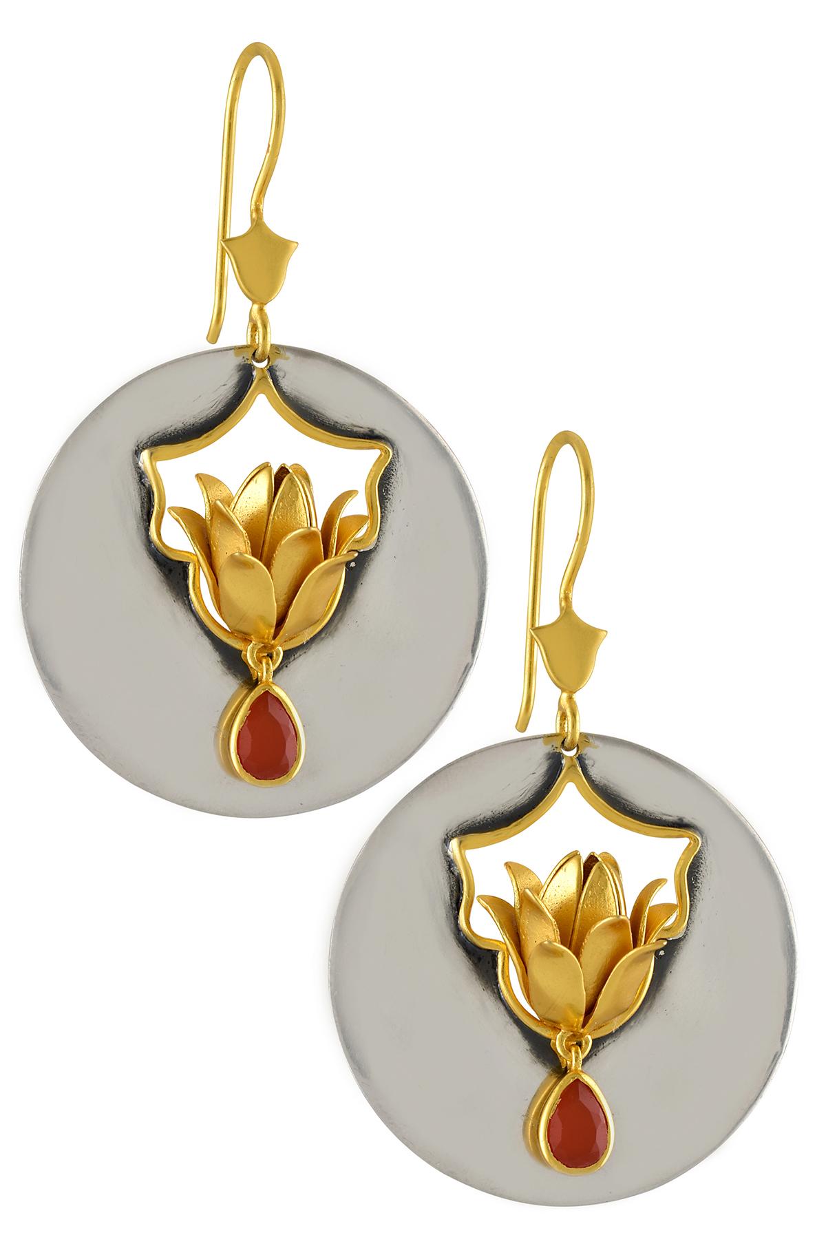 Silver Dual Tone Floral Disc Carnelian Drop Earrings