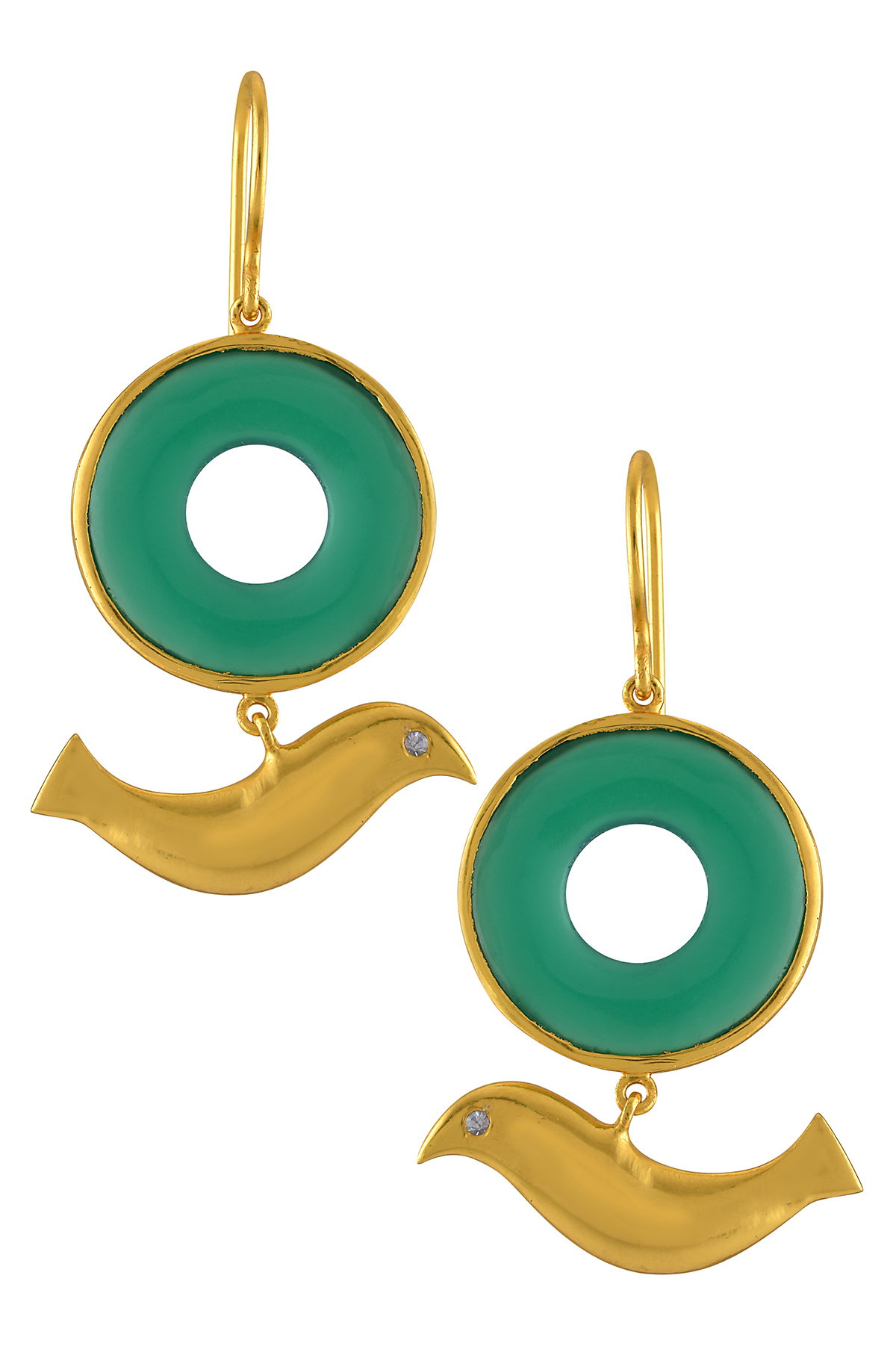 Silver Gold Plated Green Ring Bird Earrings