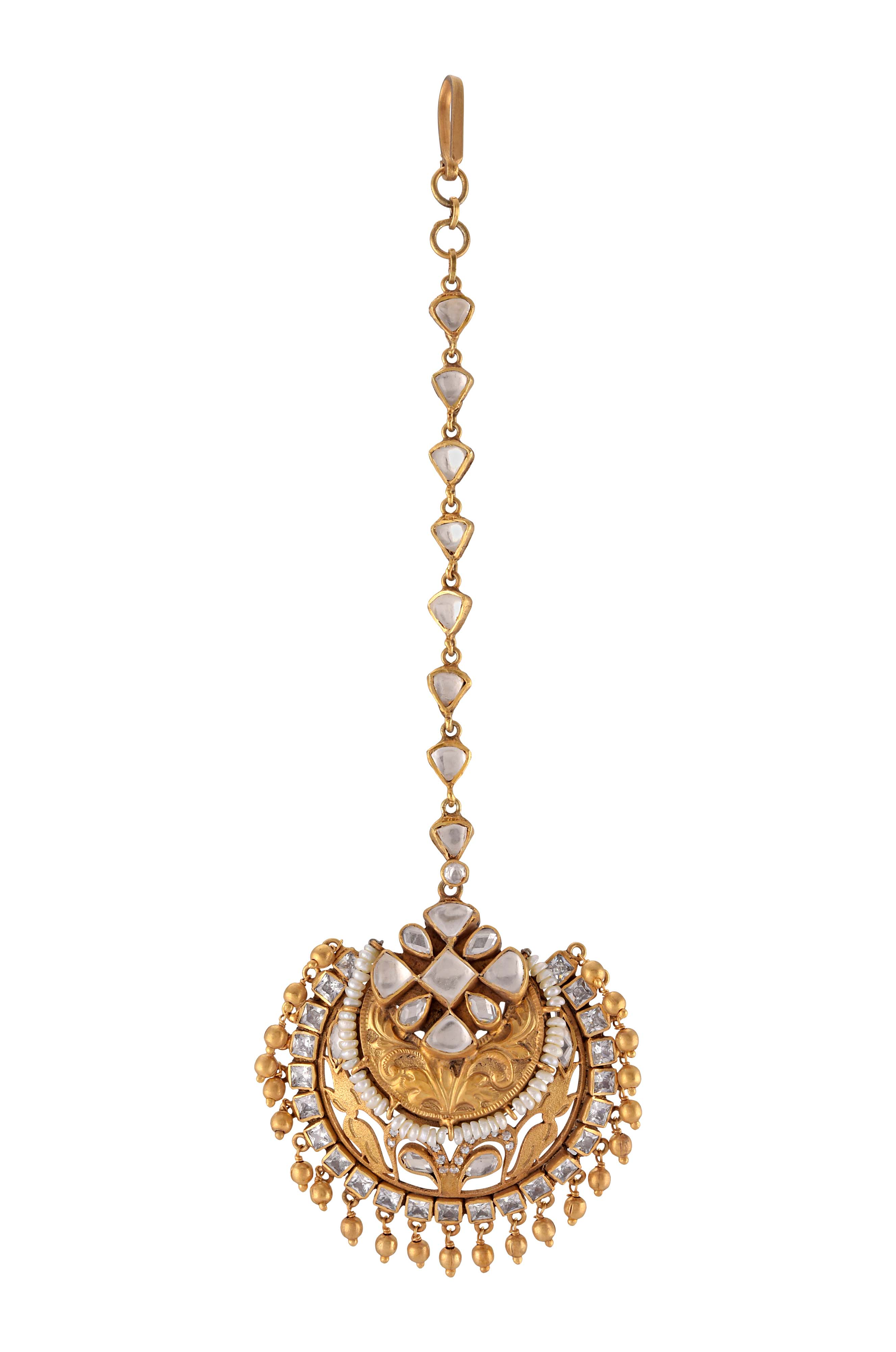 Silver Gold Plated Floral Glass Pearl Maangtikka