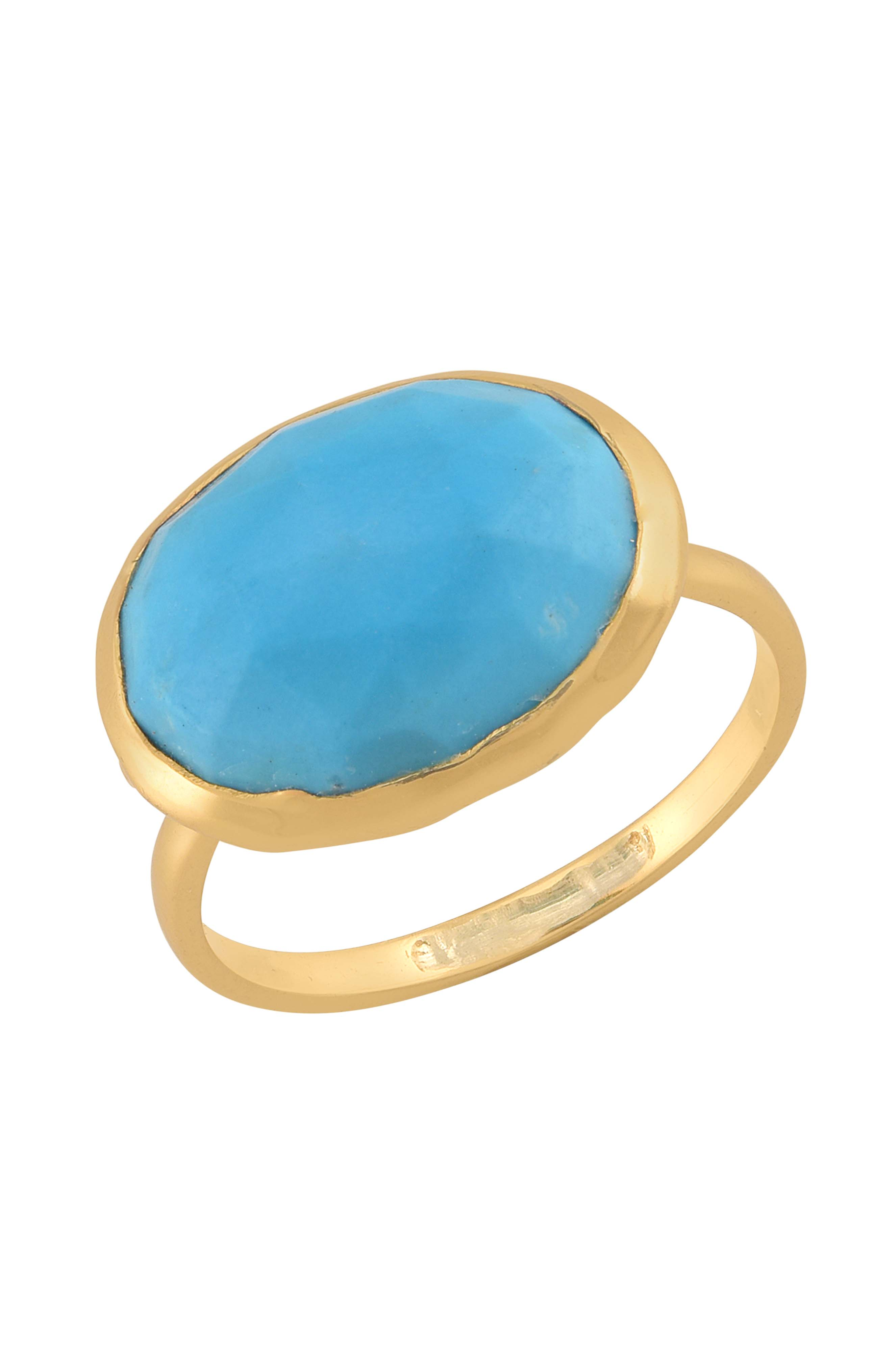 Gold Plated Oval Turquoise Ring
