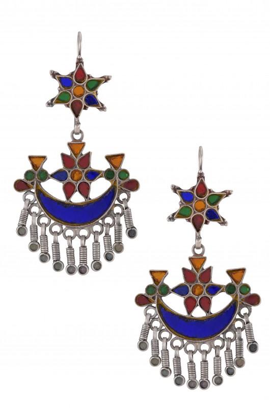 Silver Colored Glass Flower Moon Earrings