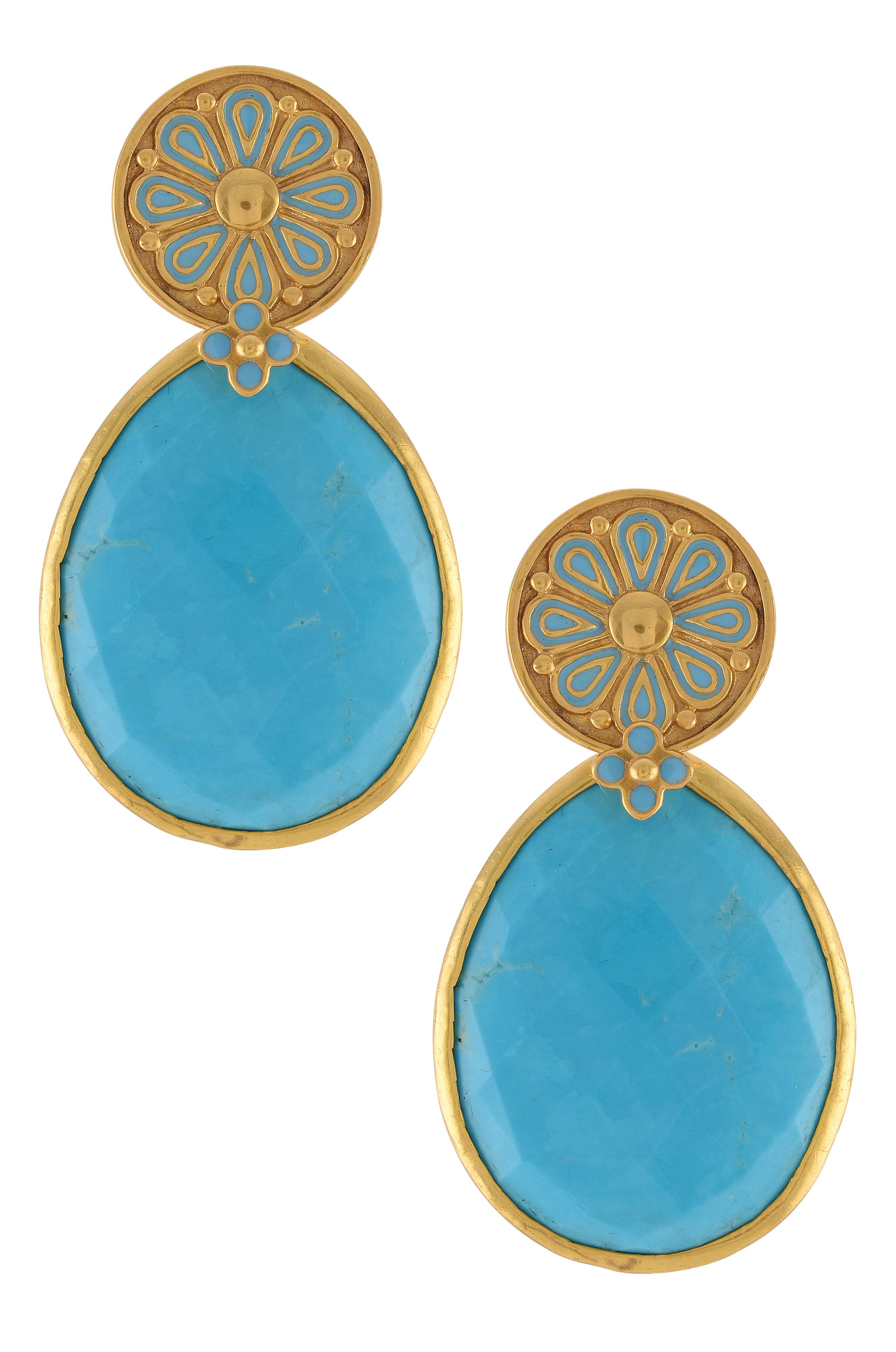 Gold Plated Turquoise Drop Floral Earrings