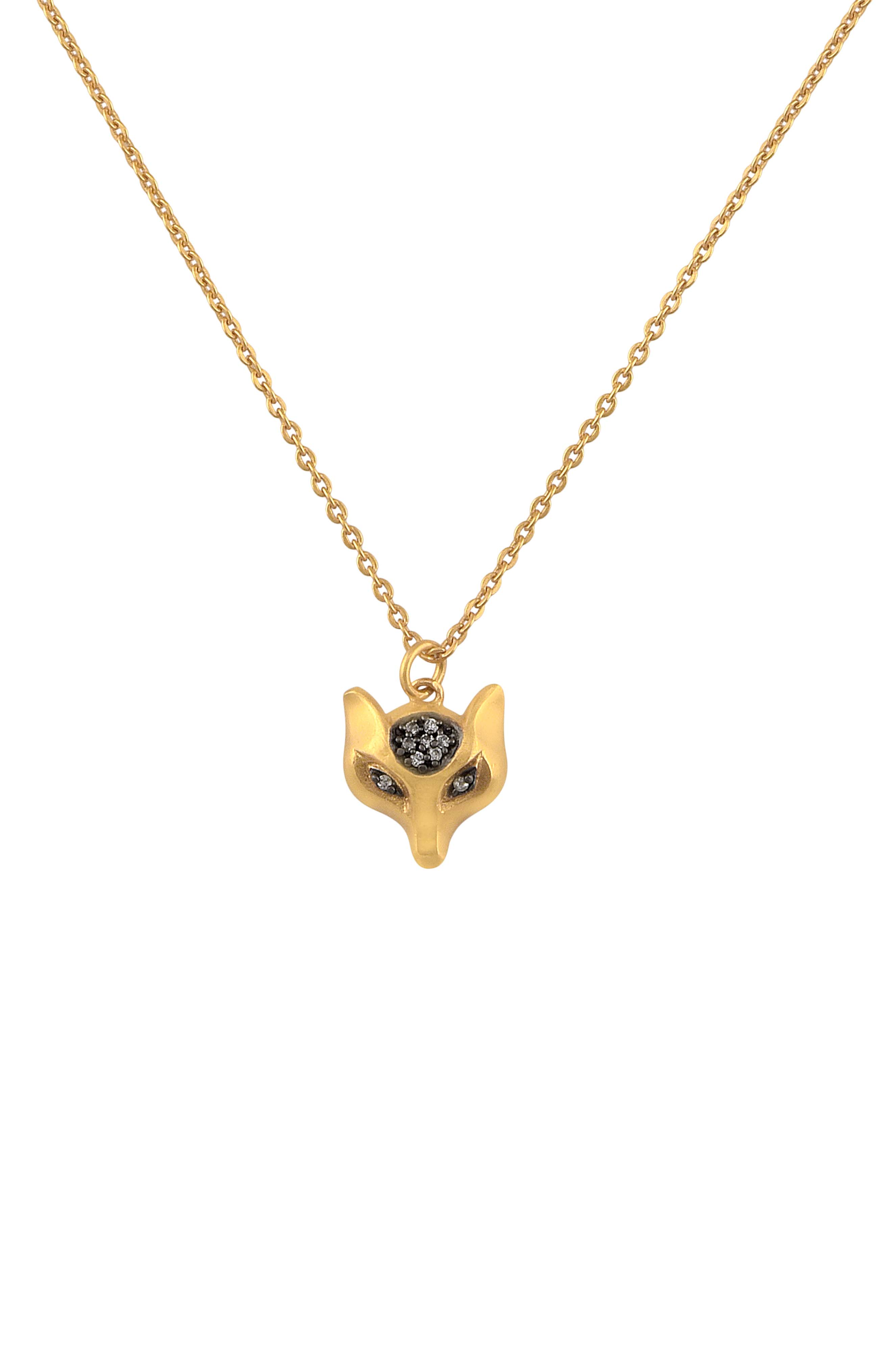 Gold Plated Fox Pendant Necklace