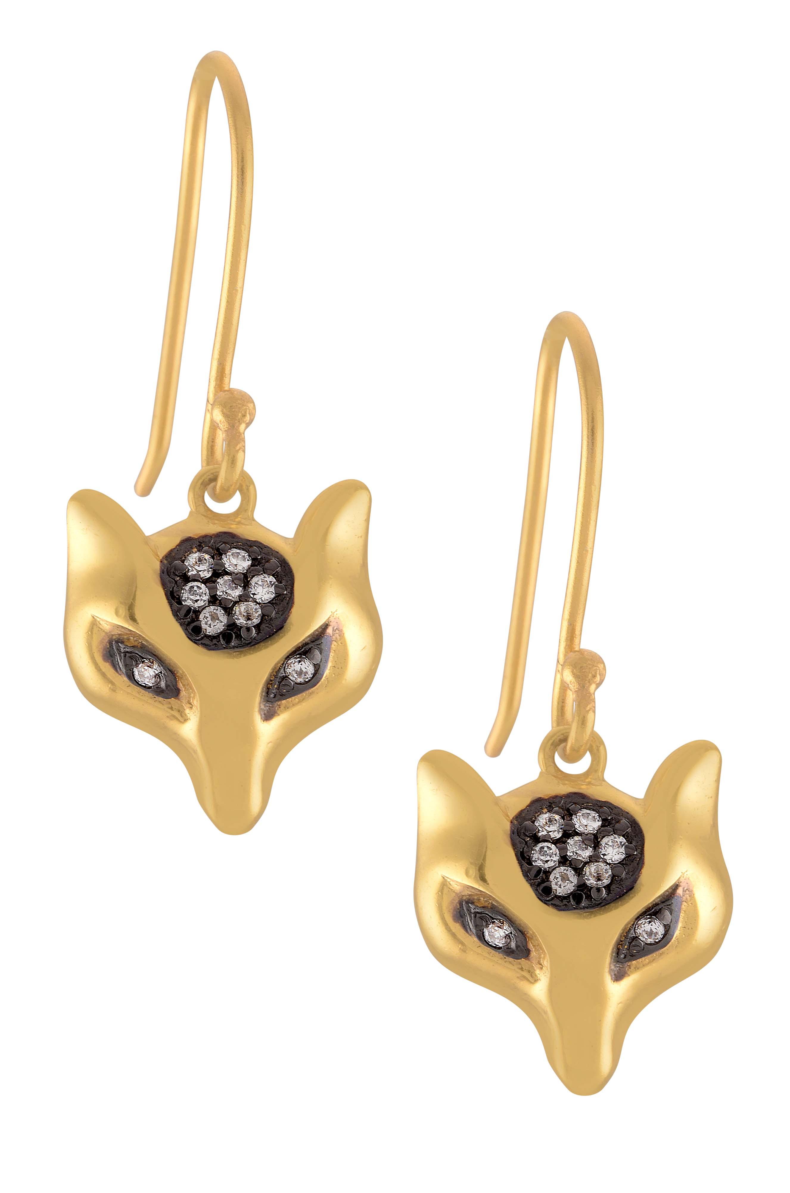 Gold Plated Fox Drop Earrings