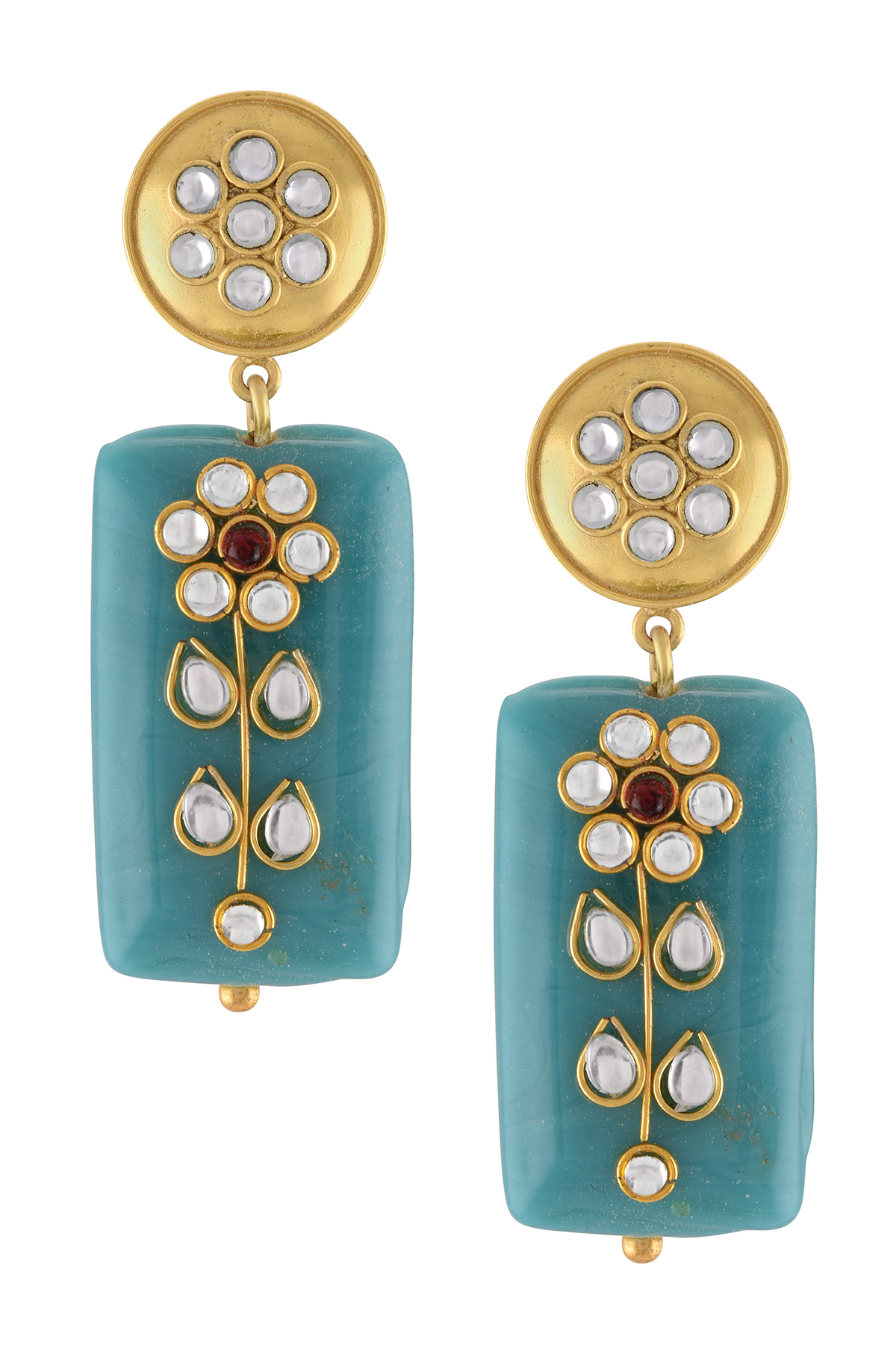 Gold Plated Teal Stone Floral Earrings