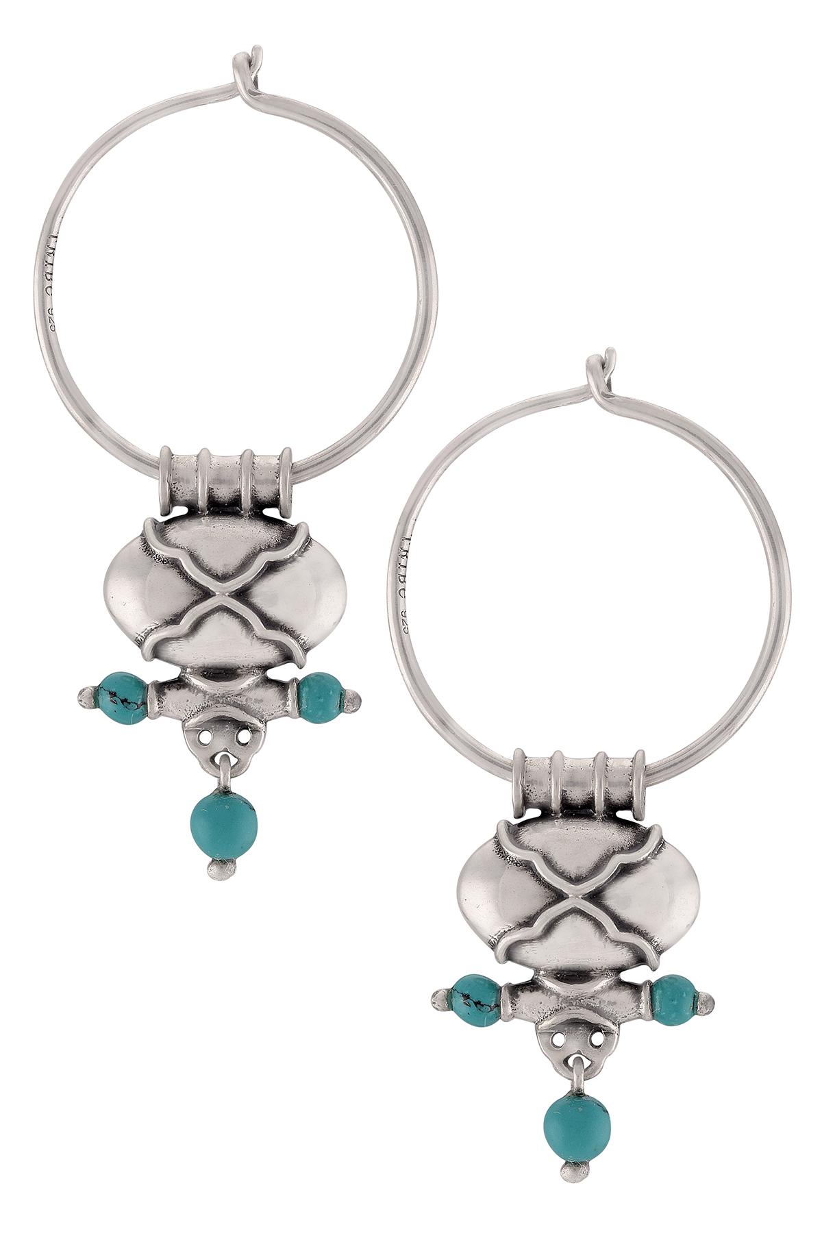 Silver Oxidised Turquoise Drop Hoop Earrings
