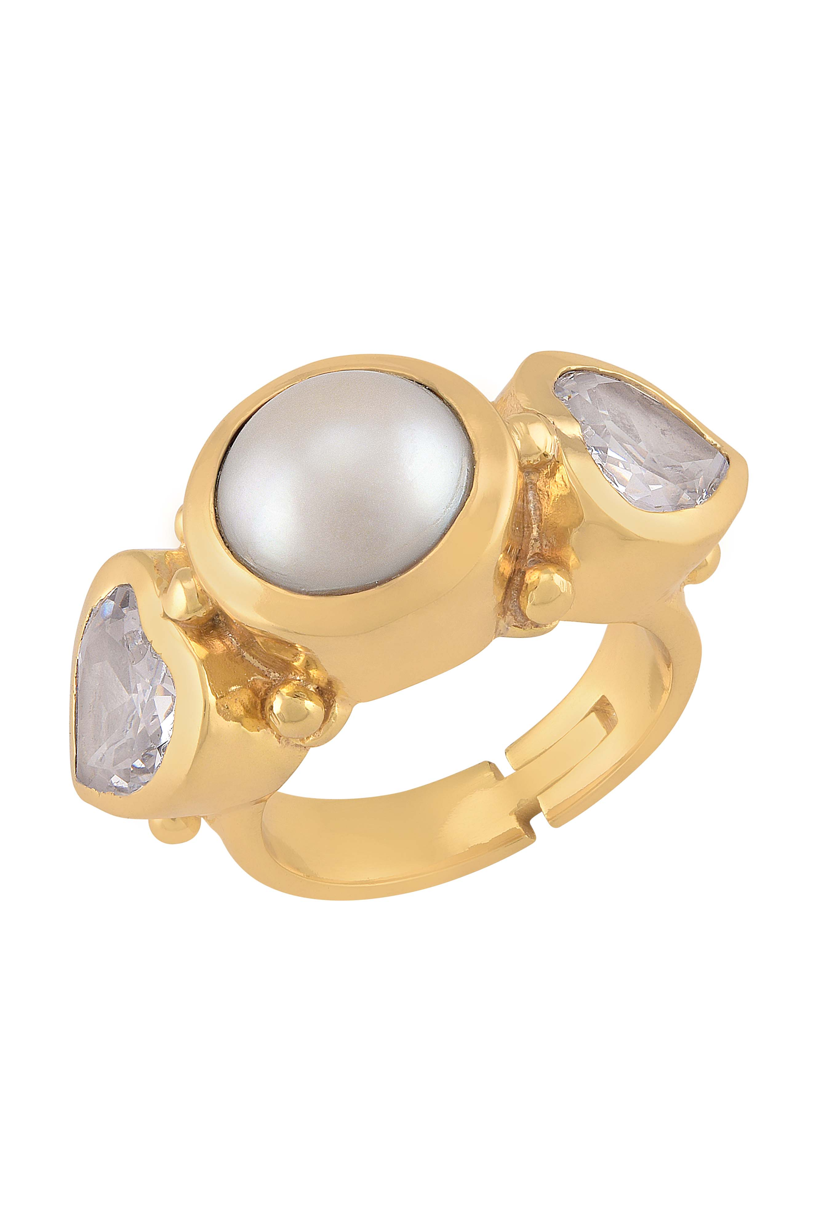 Gold Plated Pearl Heart Zircon Ring