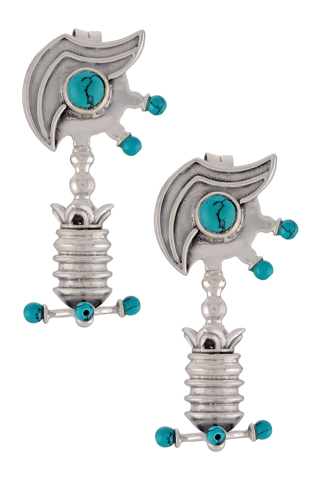 Silver Oxidised Turquoise Tribal Motif Ear Studs