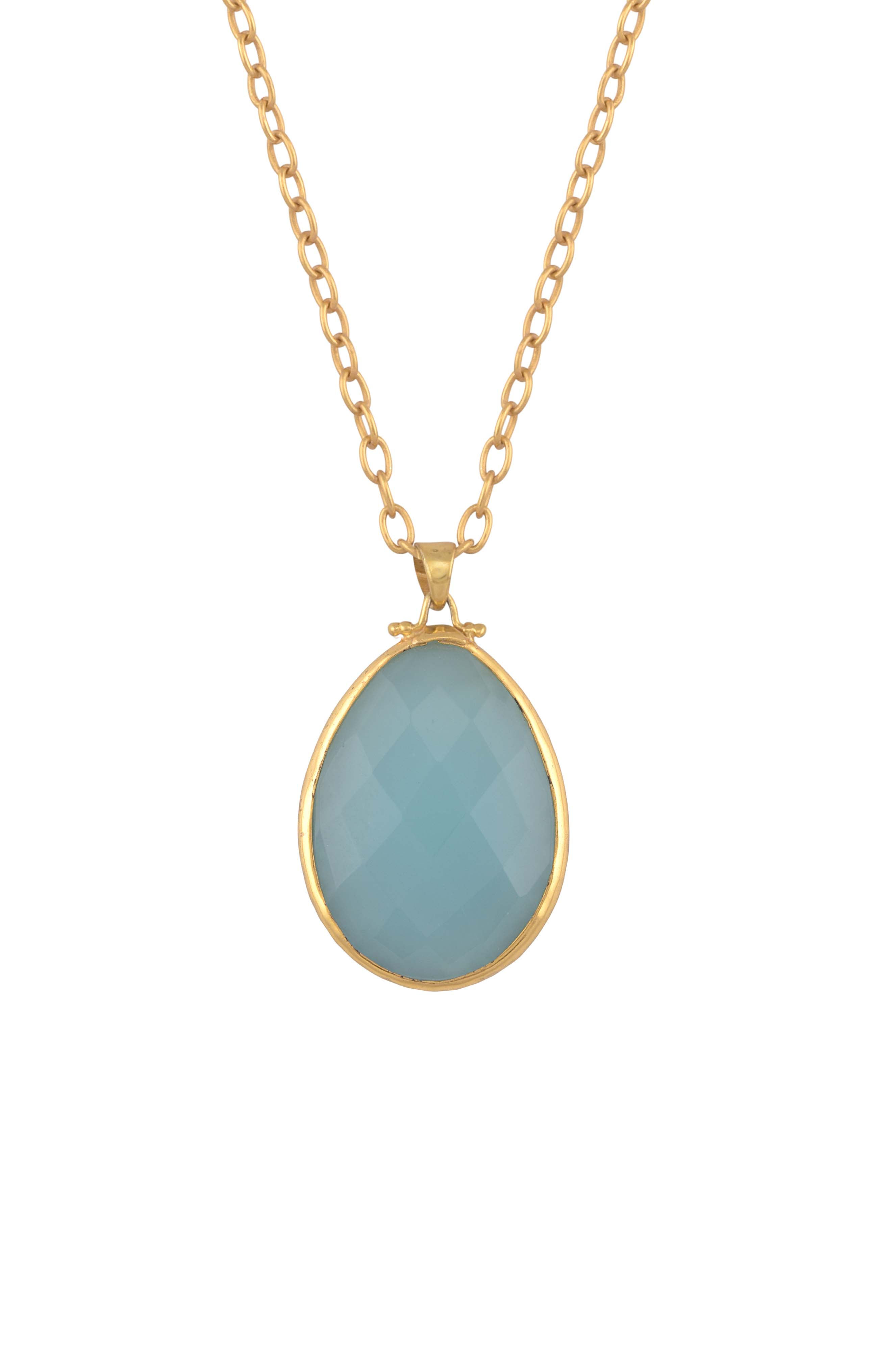 Gold Plated Labradorite Glass Pendant Necklace