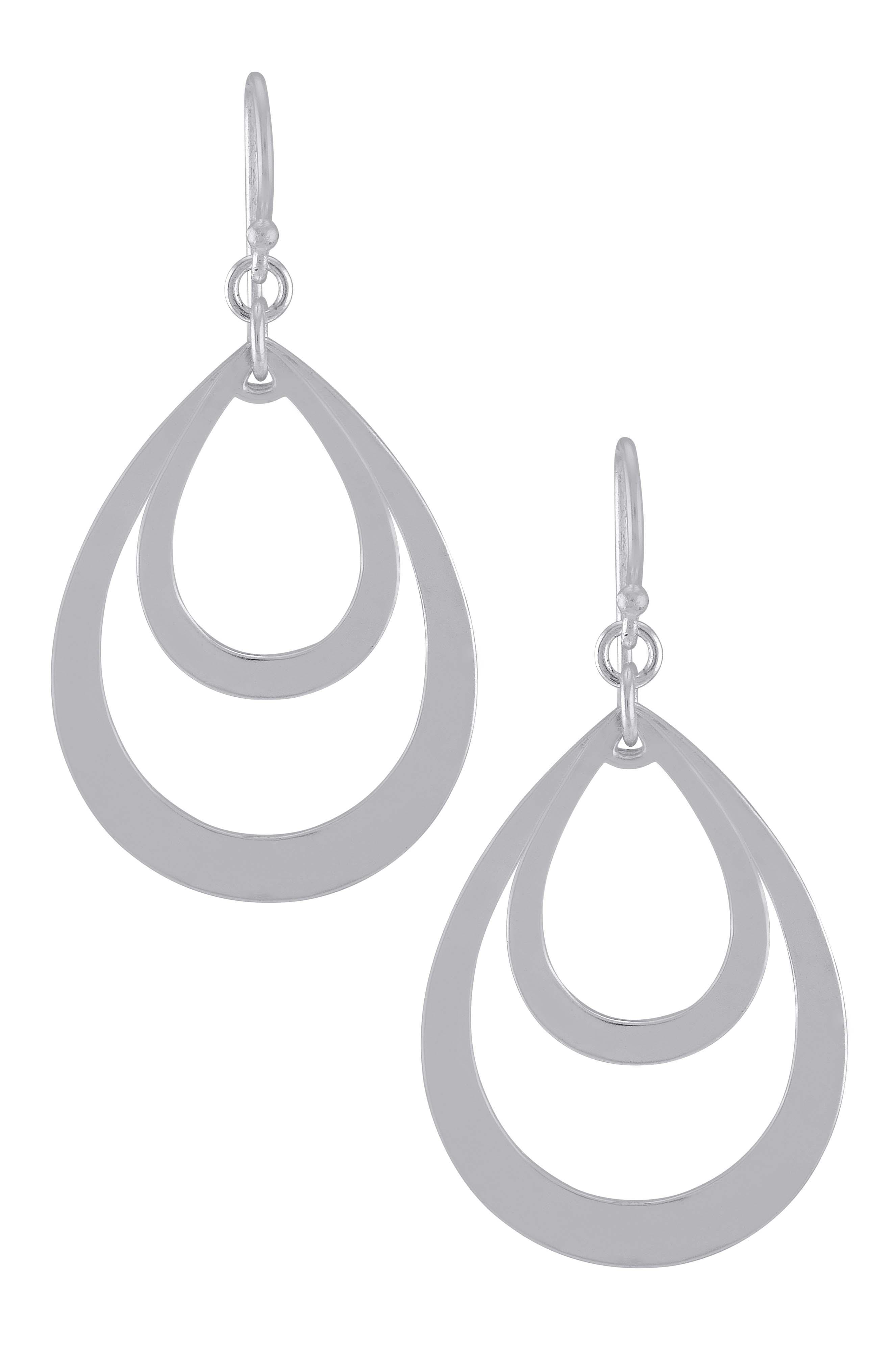 Silver Plated Double Pear Drop Hook Earrings
