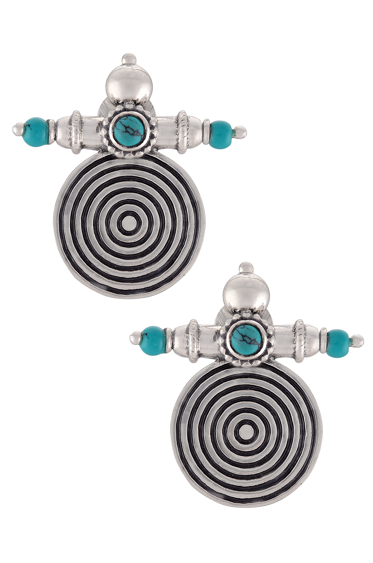 Silver Oxidised Turquoise Concentric Taveez Ear Studs