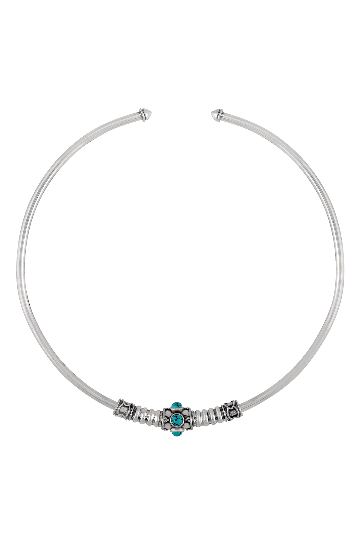 Silver Oxidised Turquoise Studded Tribal Hasli