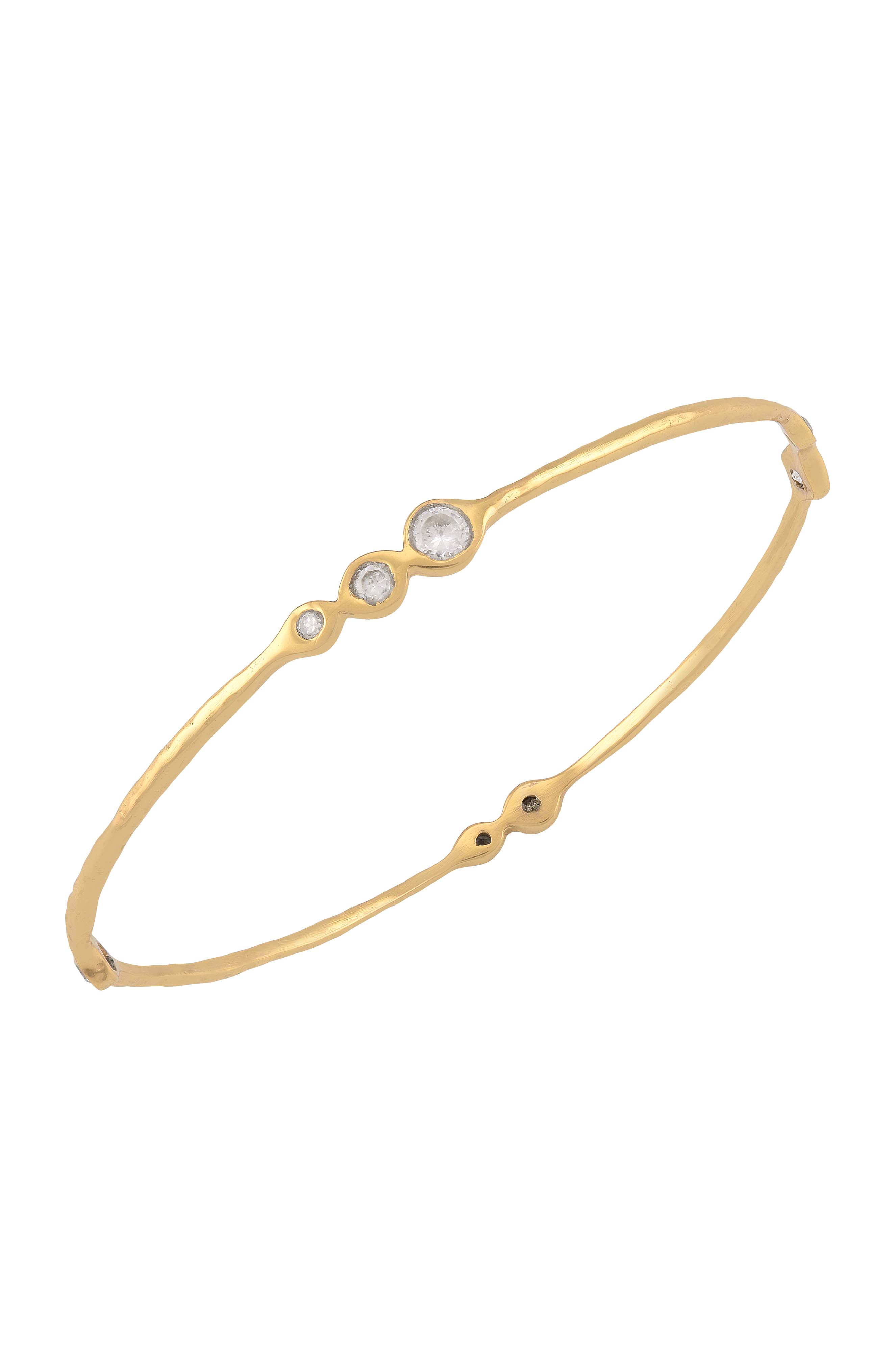 Gold Plated Textured Zircon Studded Bangle