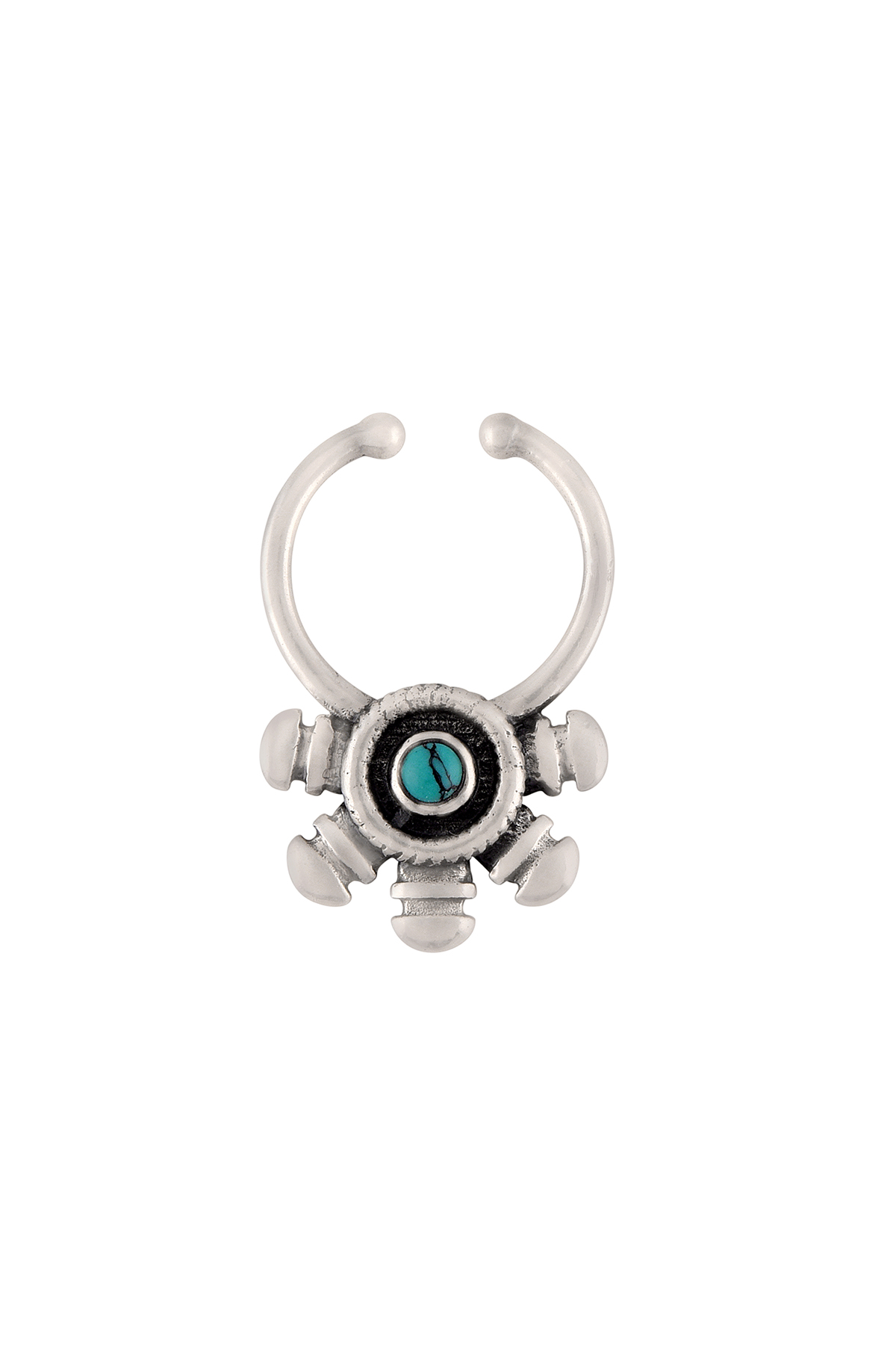 Silver Oxidised Turquoise Studded Embellishment Septum Ring