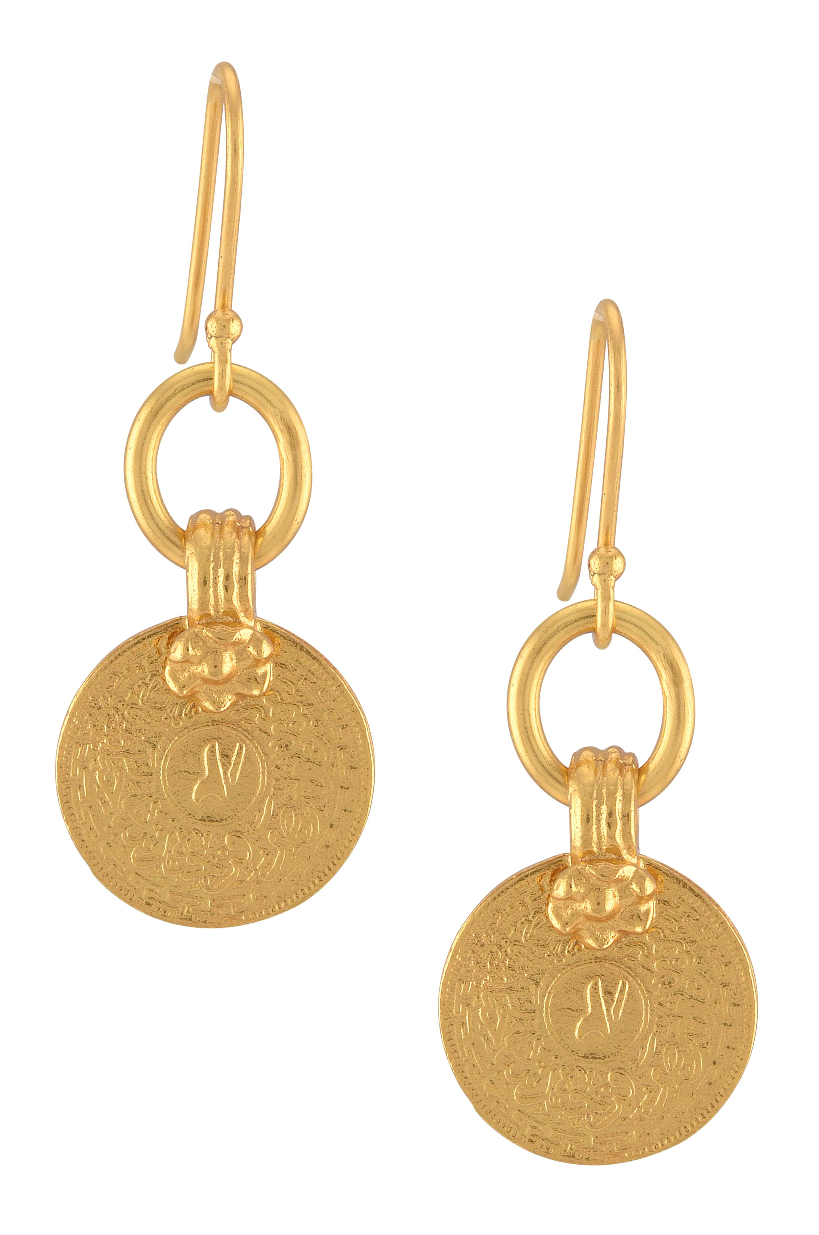 Gold Plated Coin Drop Earrings
