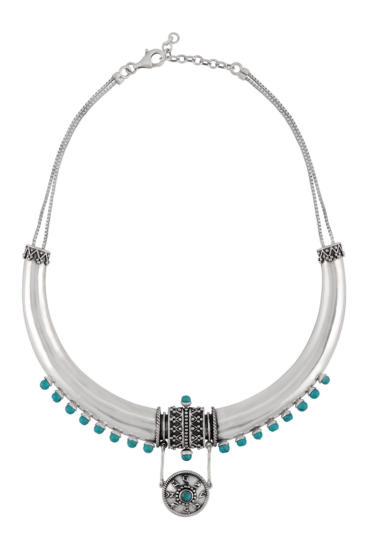 Silver Oxidised Turquoise Embellishment Crescent Choker