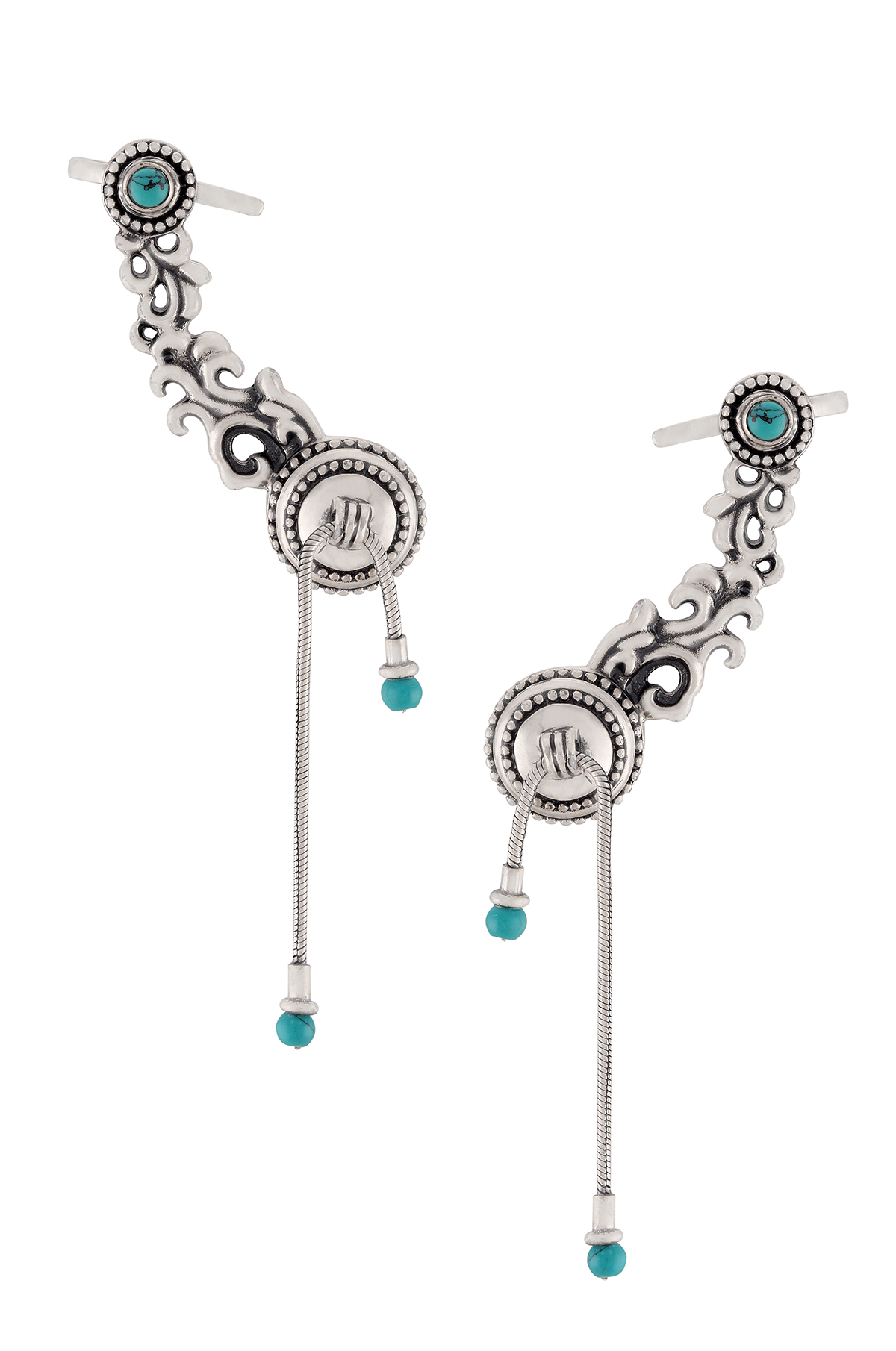 Silver Oxidised Intricate Floral Turquoise Ear Cuff