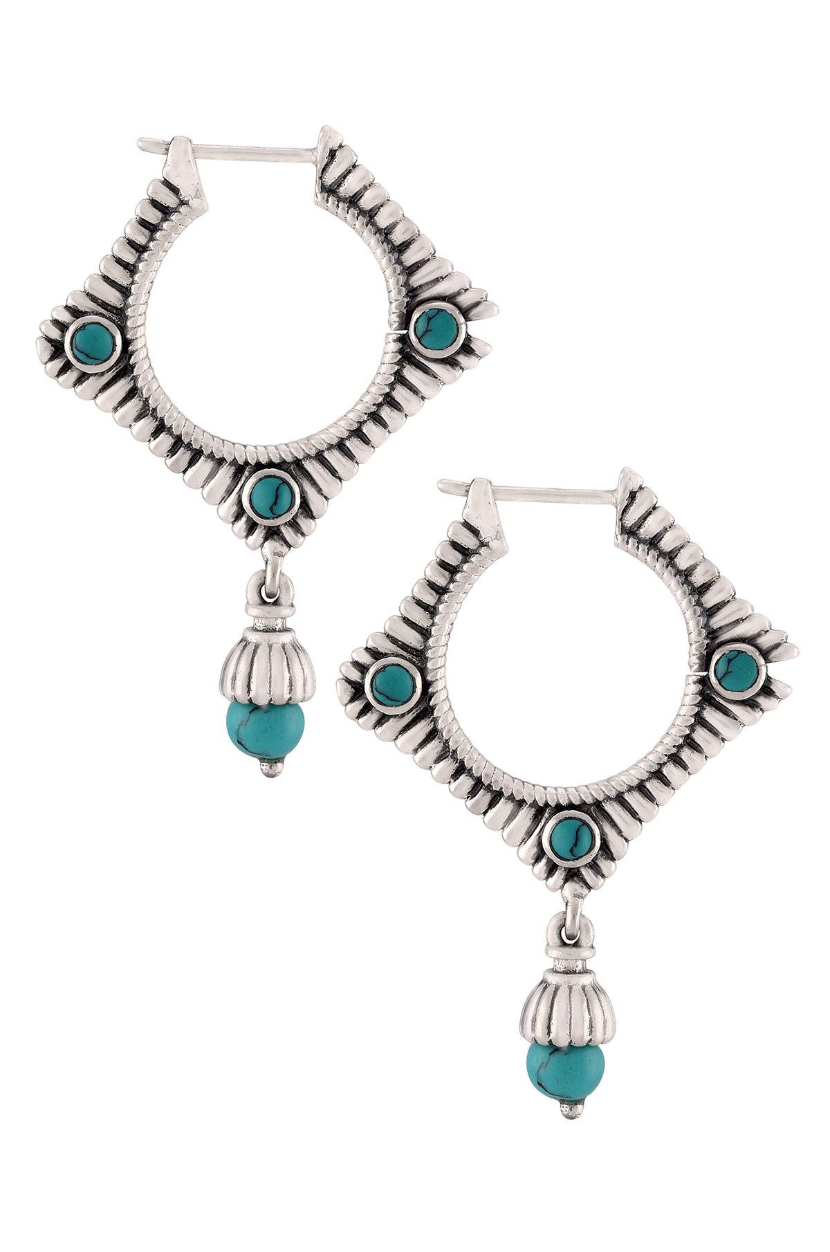 Silver Oxidised Geometric Turquoise Drop Earrings