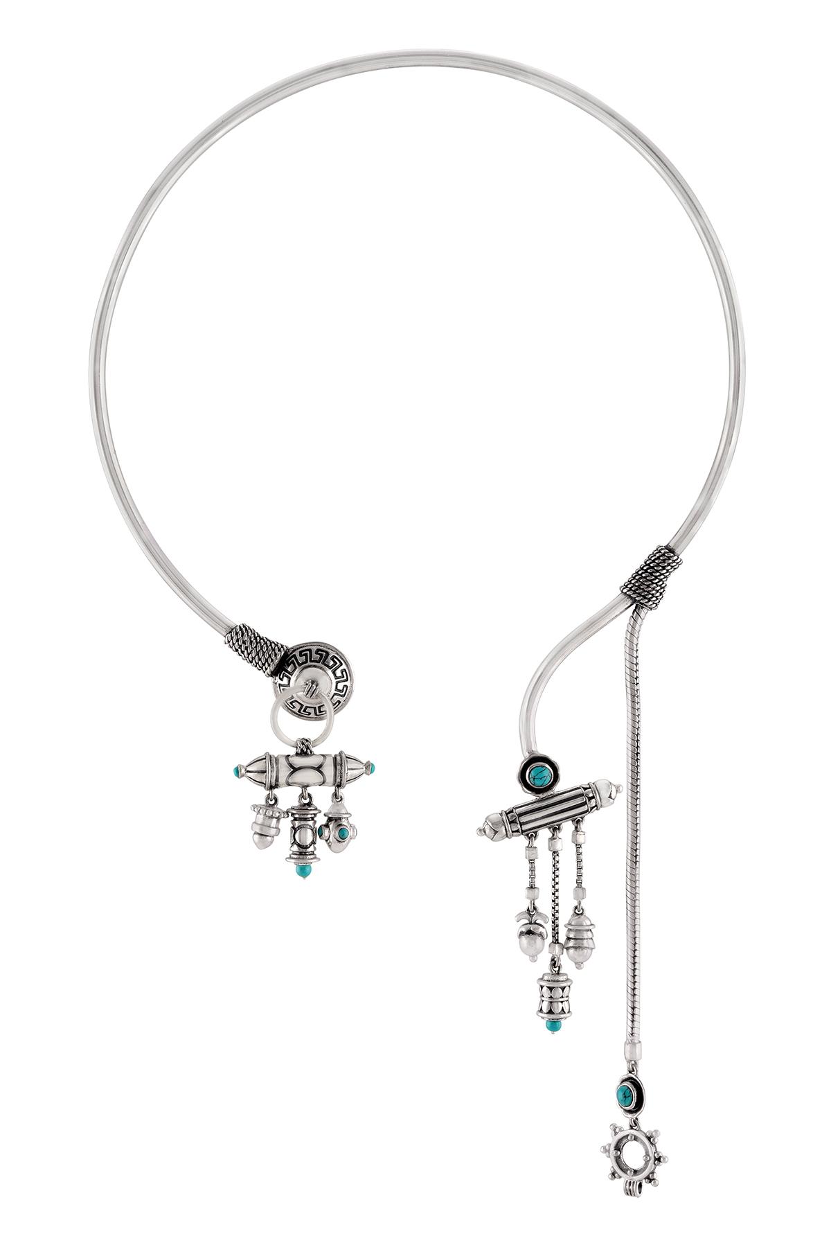 Silver Oxidised Tibetan Motif Turquoise Drop Choker
