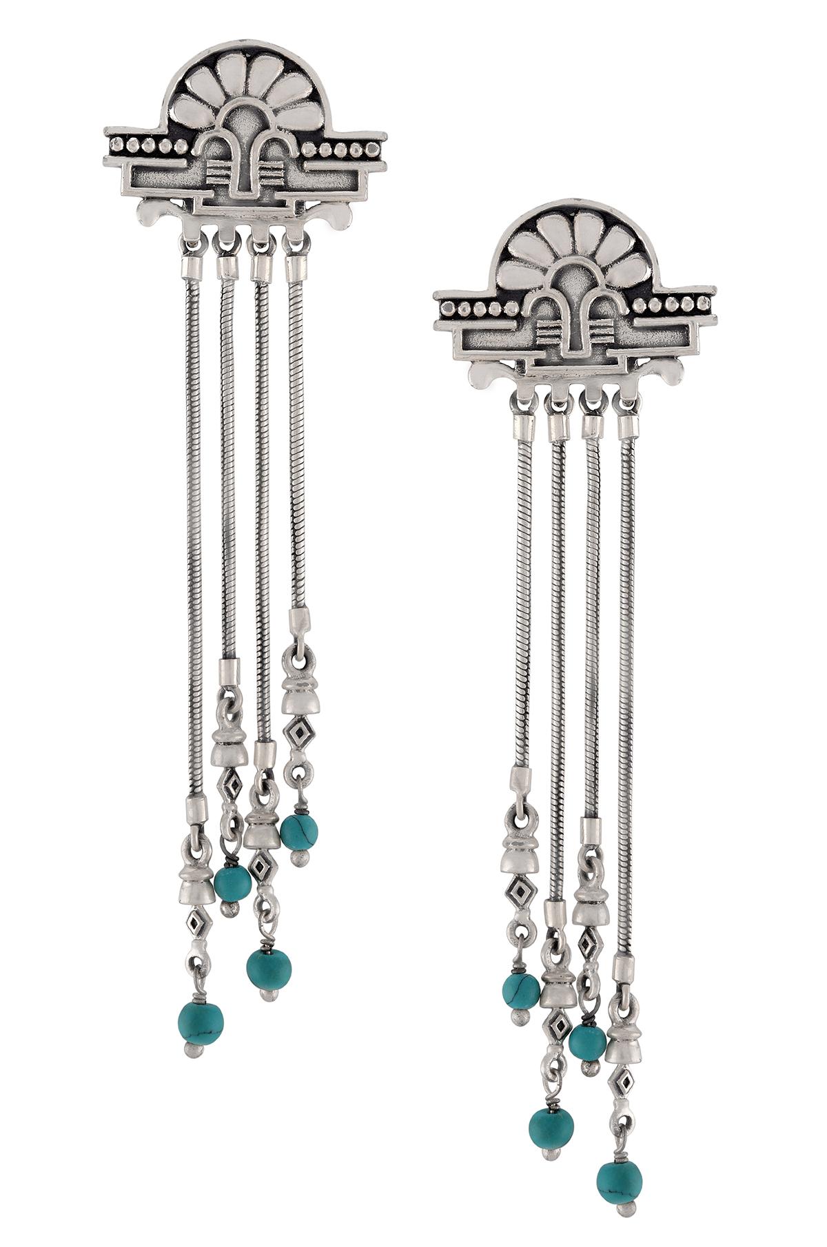 Silver Oxidsed Floral Turquoise Drop Tassel Earrings