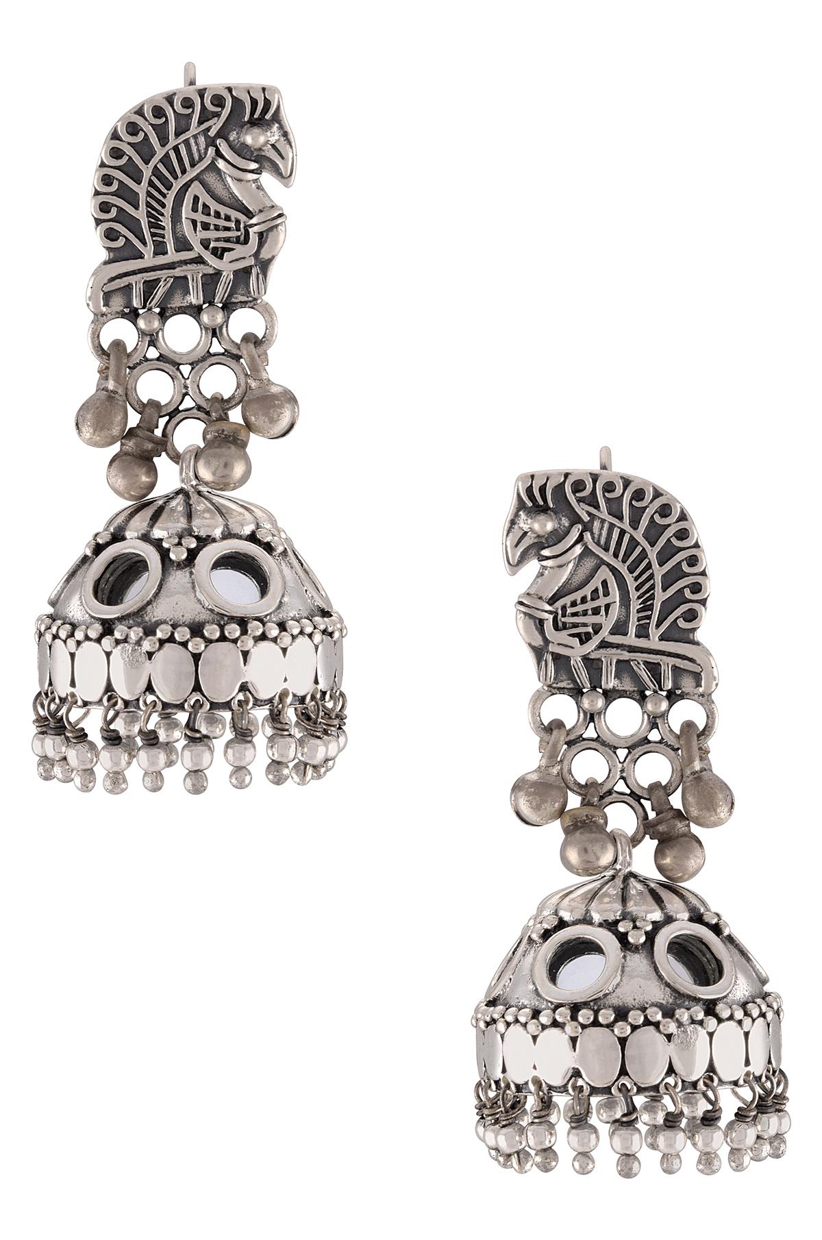 Silver Oxidised Peacock Motif Mirror Jhumki Earrings