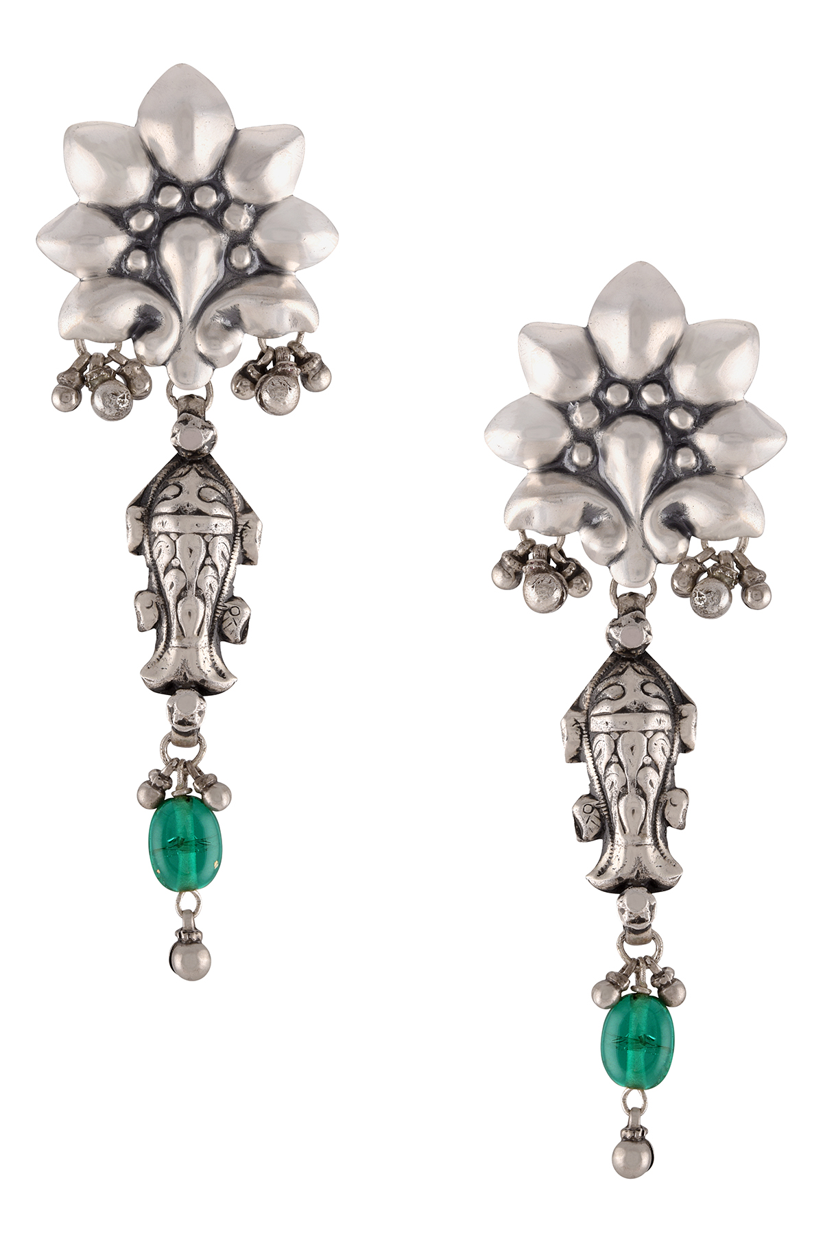 Silver Oxidised Floral Fish Drop Green Glass Earrings