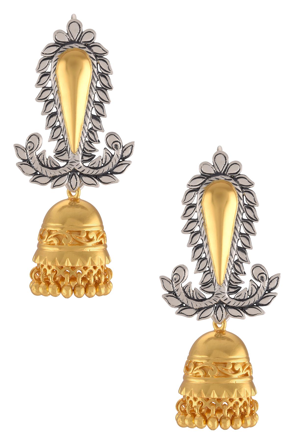 Silver Dual Tone Leaf Motif Floral Jhumki Earrings