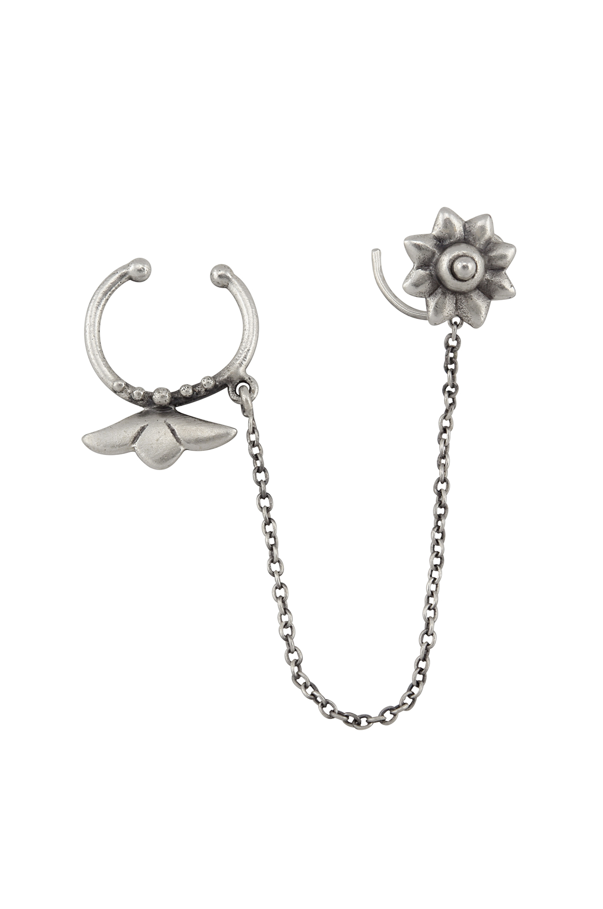 Silver Floral Septum Nose Pin