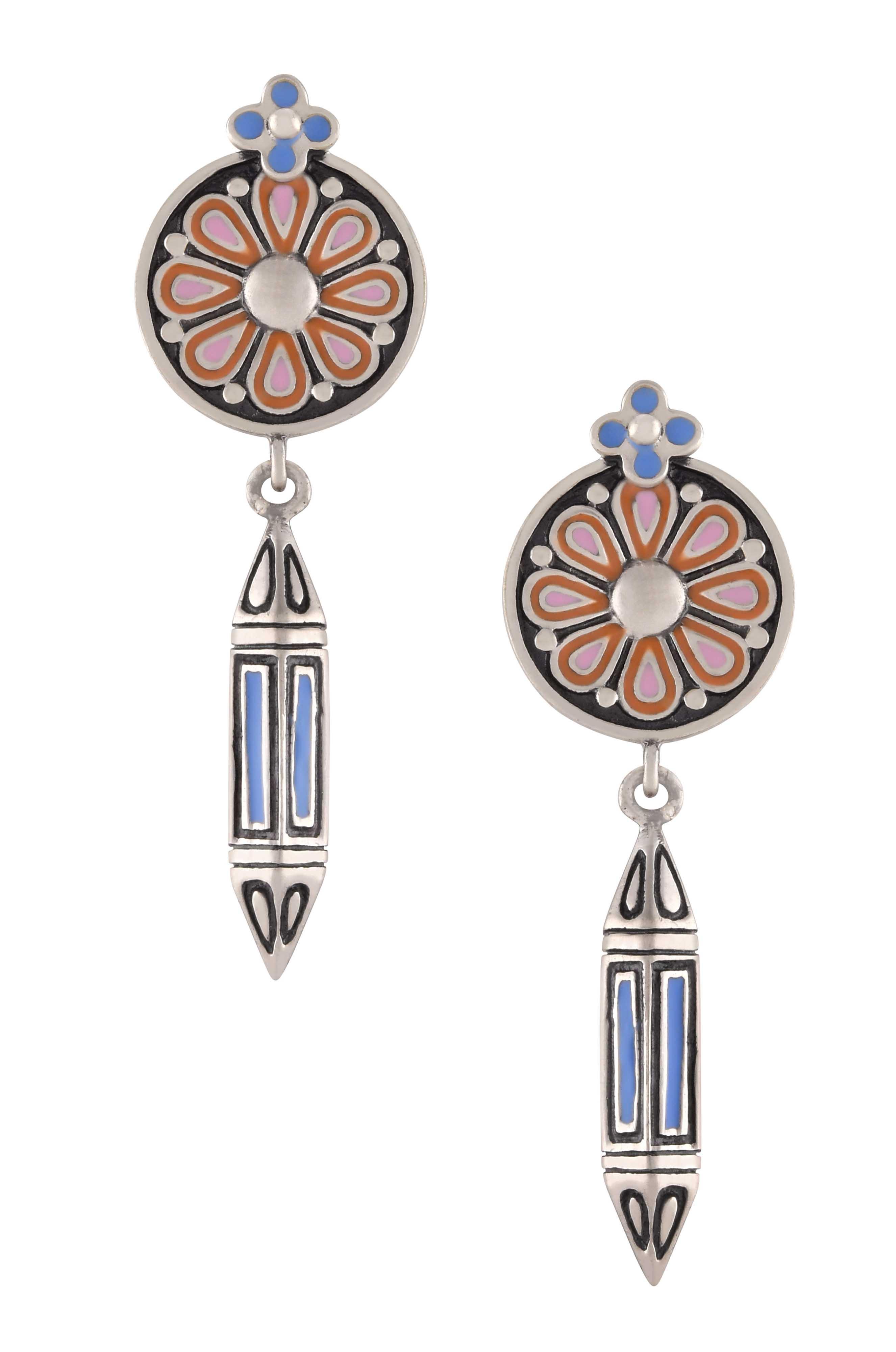 Pink Blue Enamel Flower Taveez Earrings