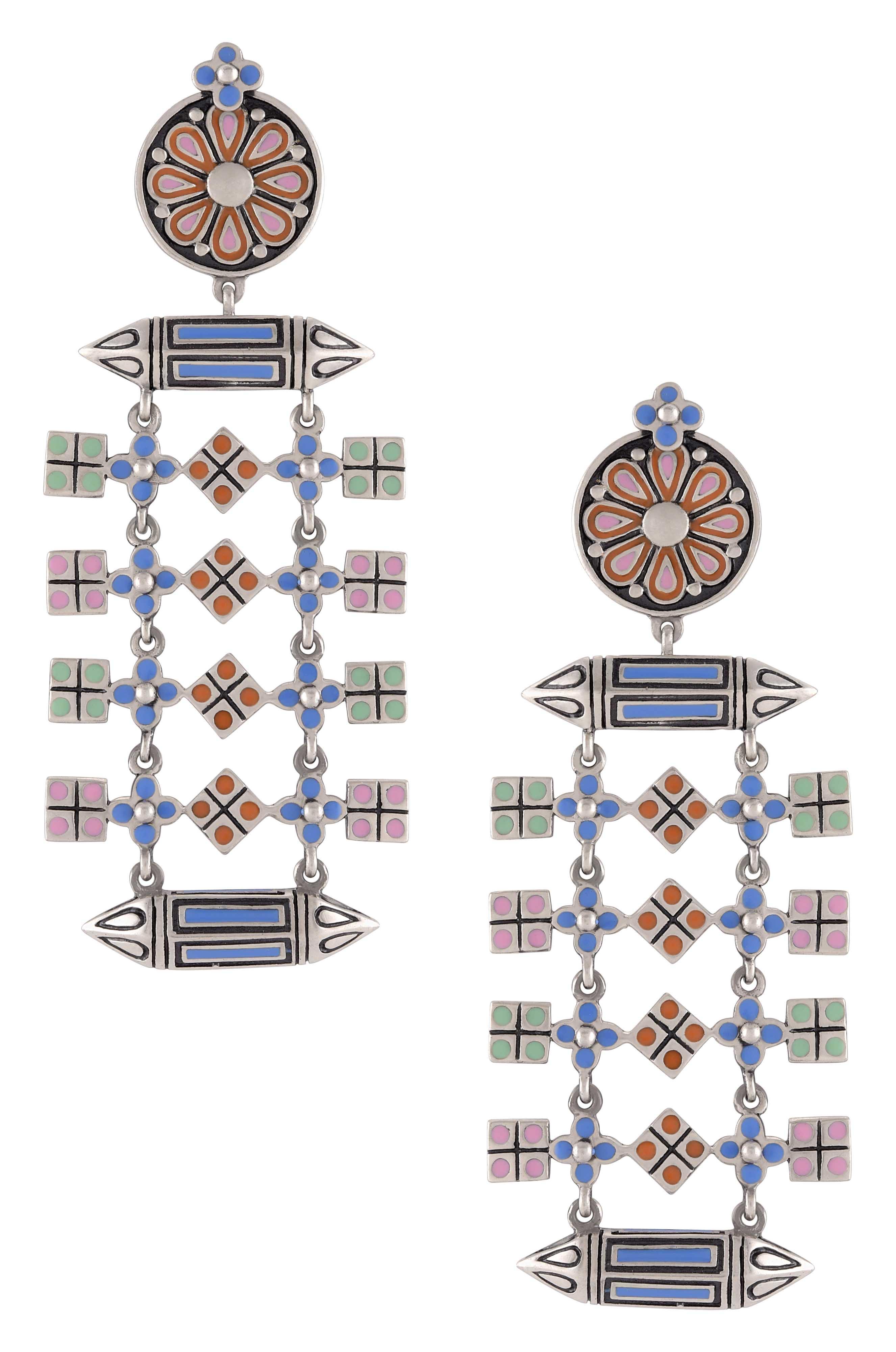 Multi Enamel Taveez Square Charm Earrings