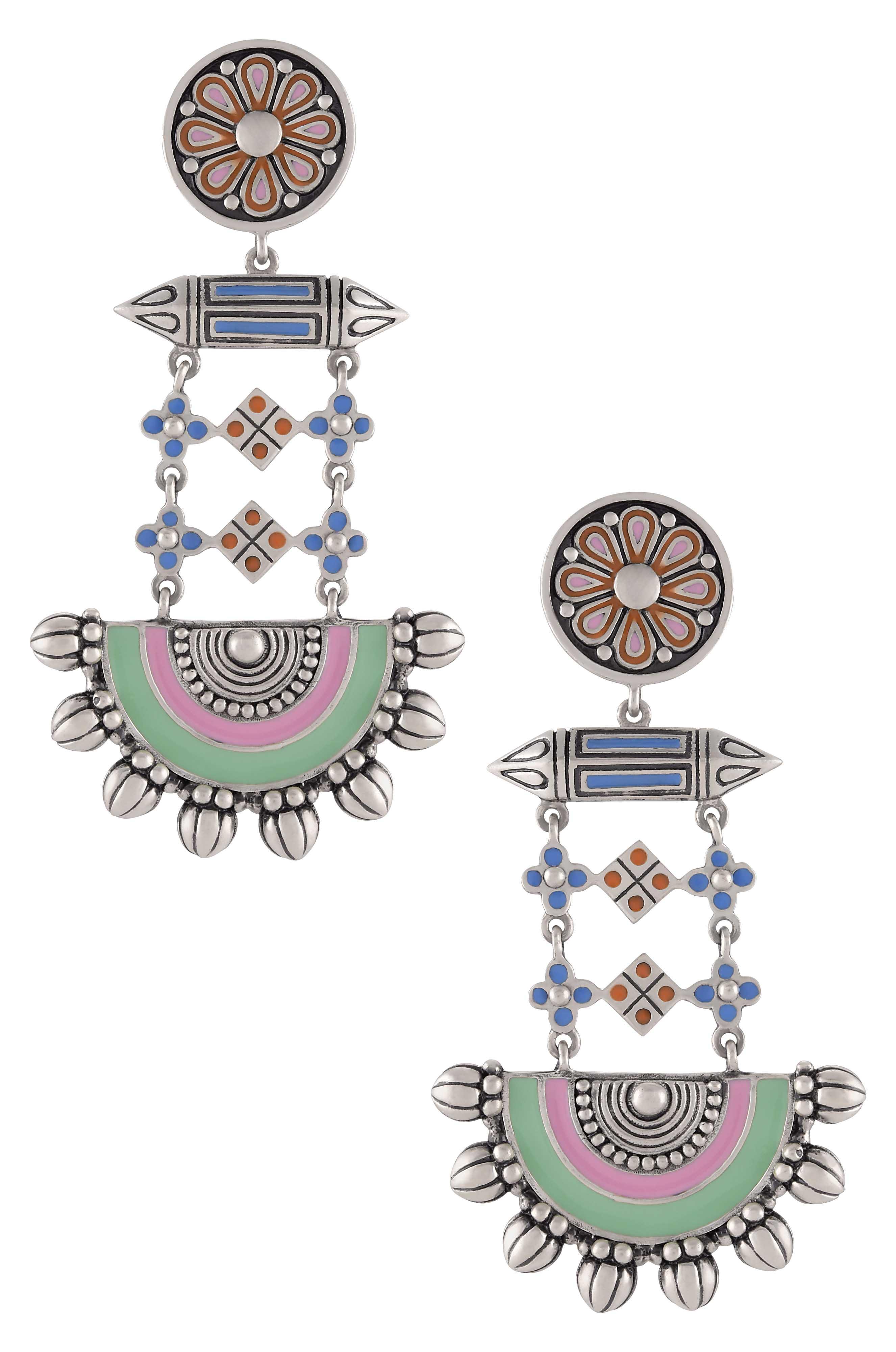 Multi Enamel Floral Taveez Half Moon Earrings