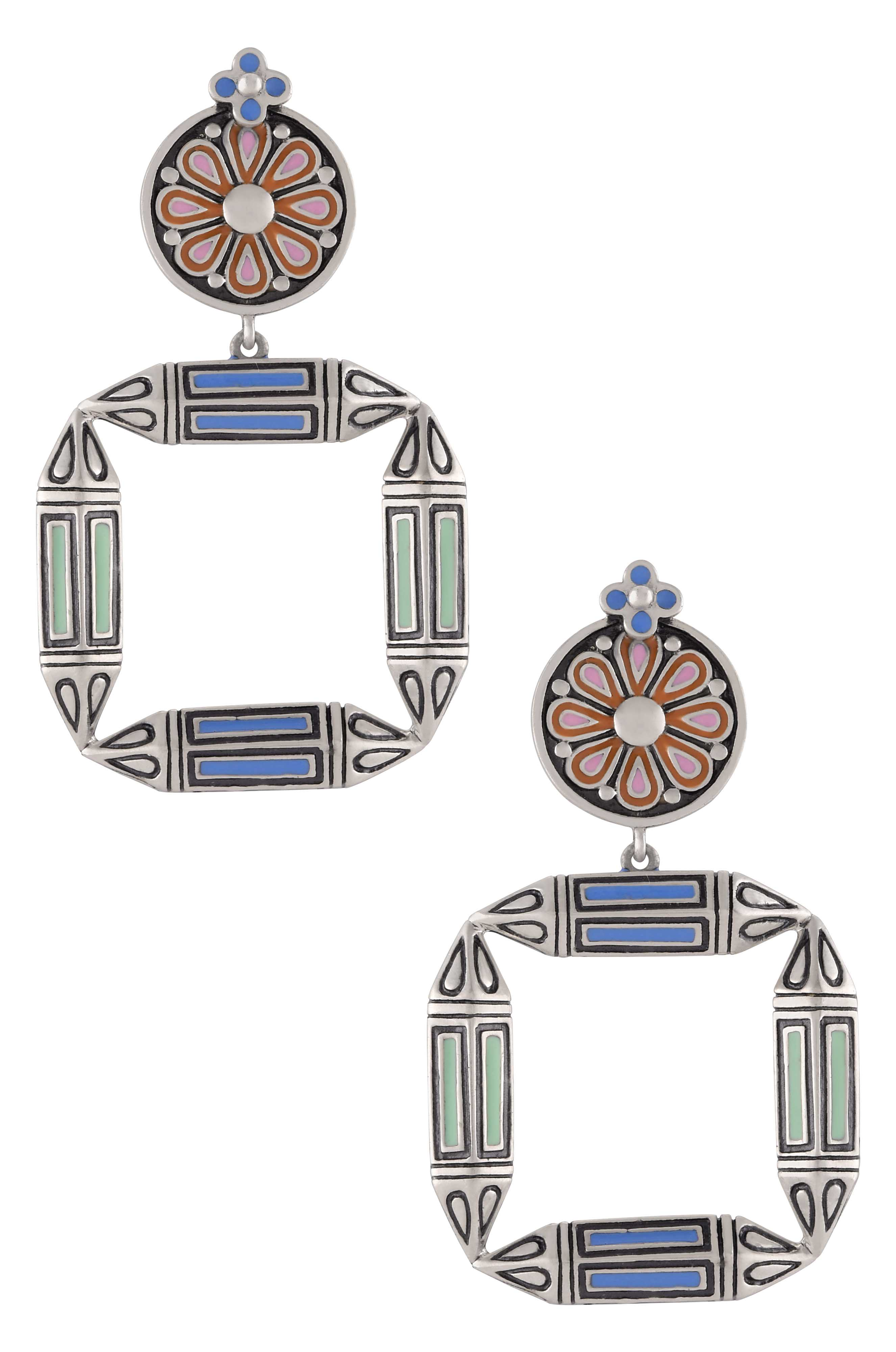 Multi Enamel Taveez Flower Earrings