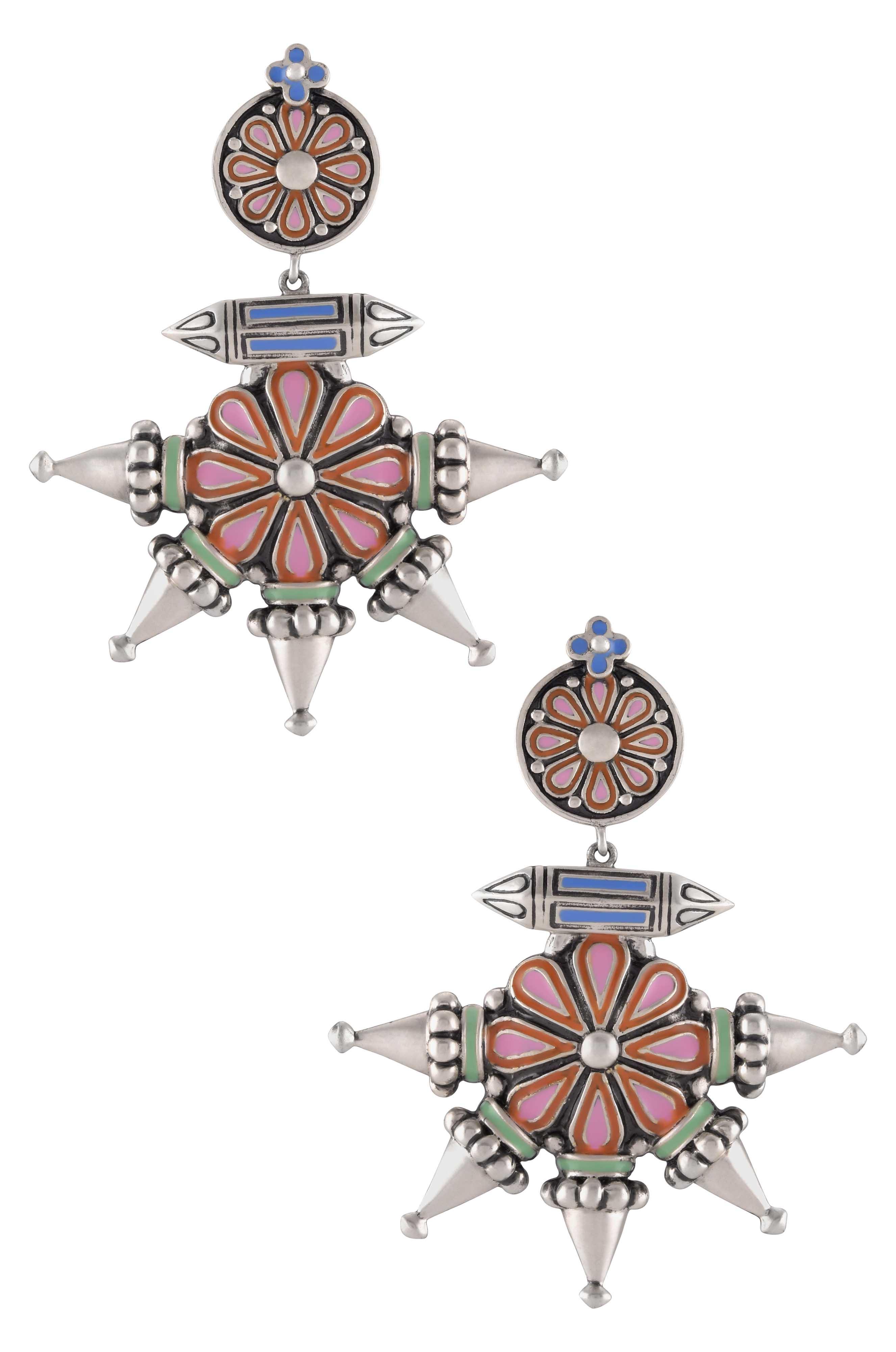 Multi Enamel Flower Spike Taveez Earrings