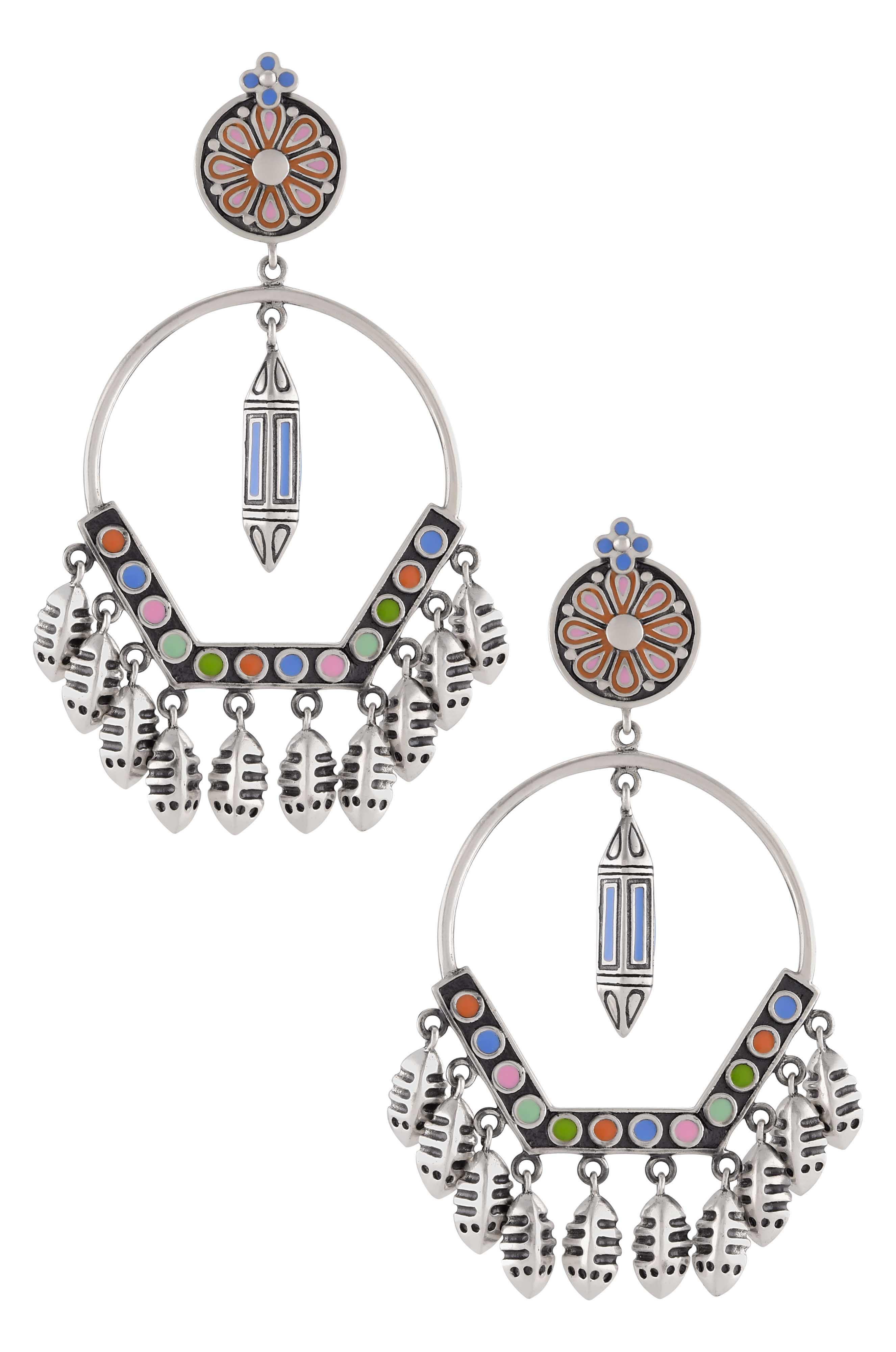 Multi Enamel Taveez Fish Earrings