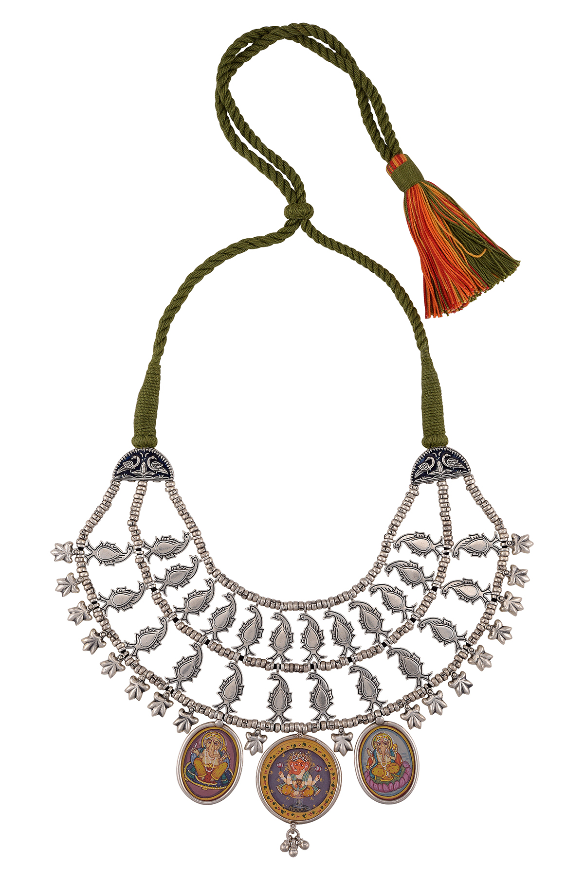 Silver Double Layer Peacock Ganesha Painting Thread Necklace