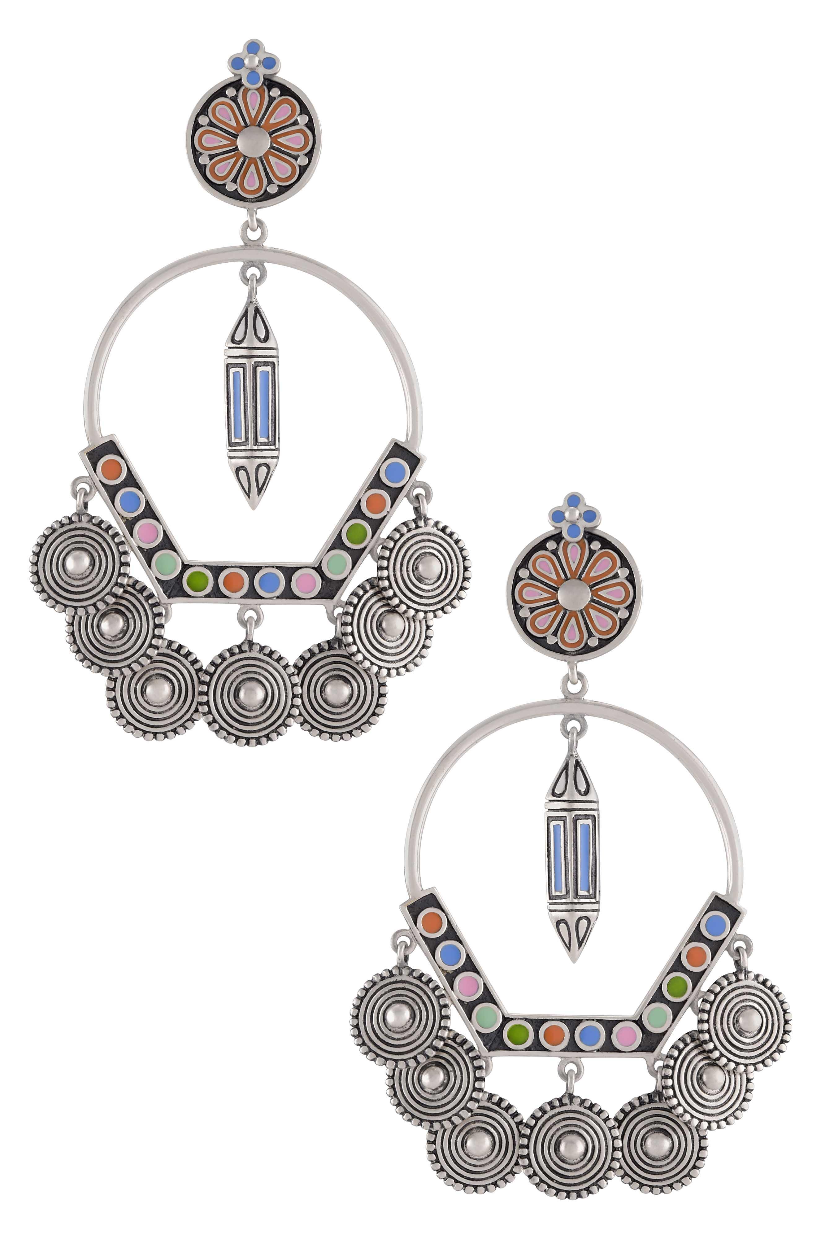 Multi Enamel Coin Taveez Earrings