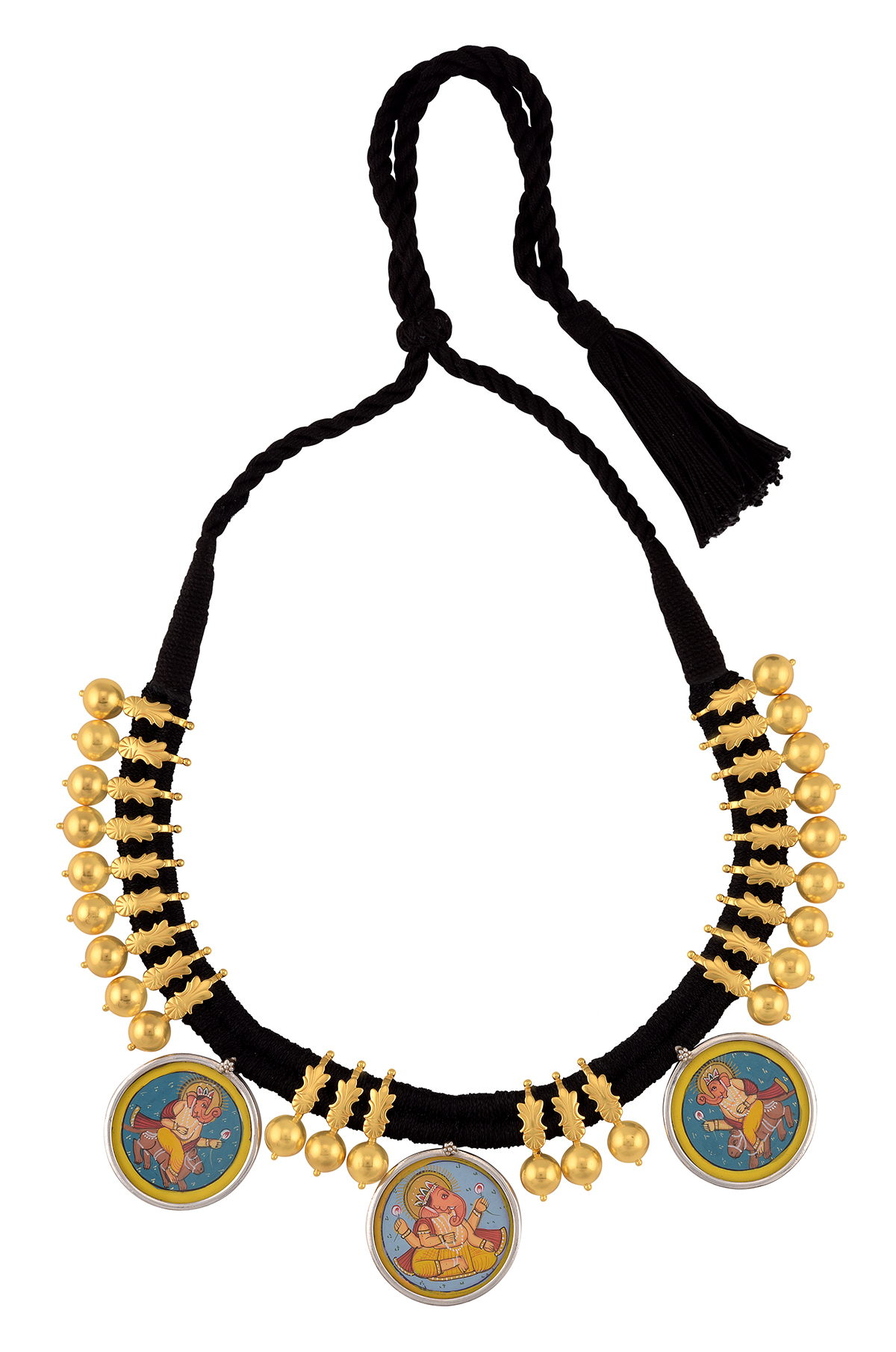 Silver Gold Plated Ganpati Floral Bead Thread Necklace