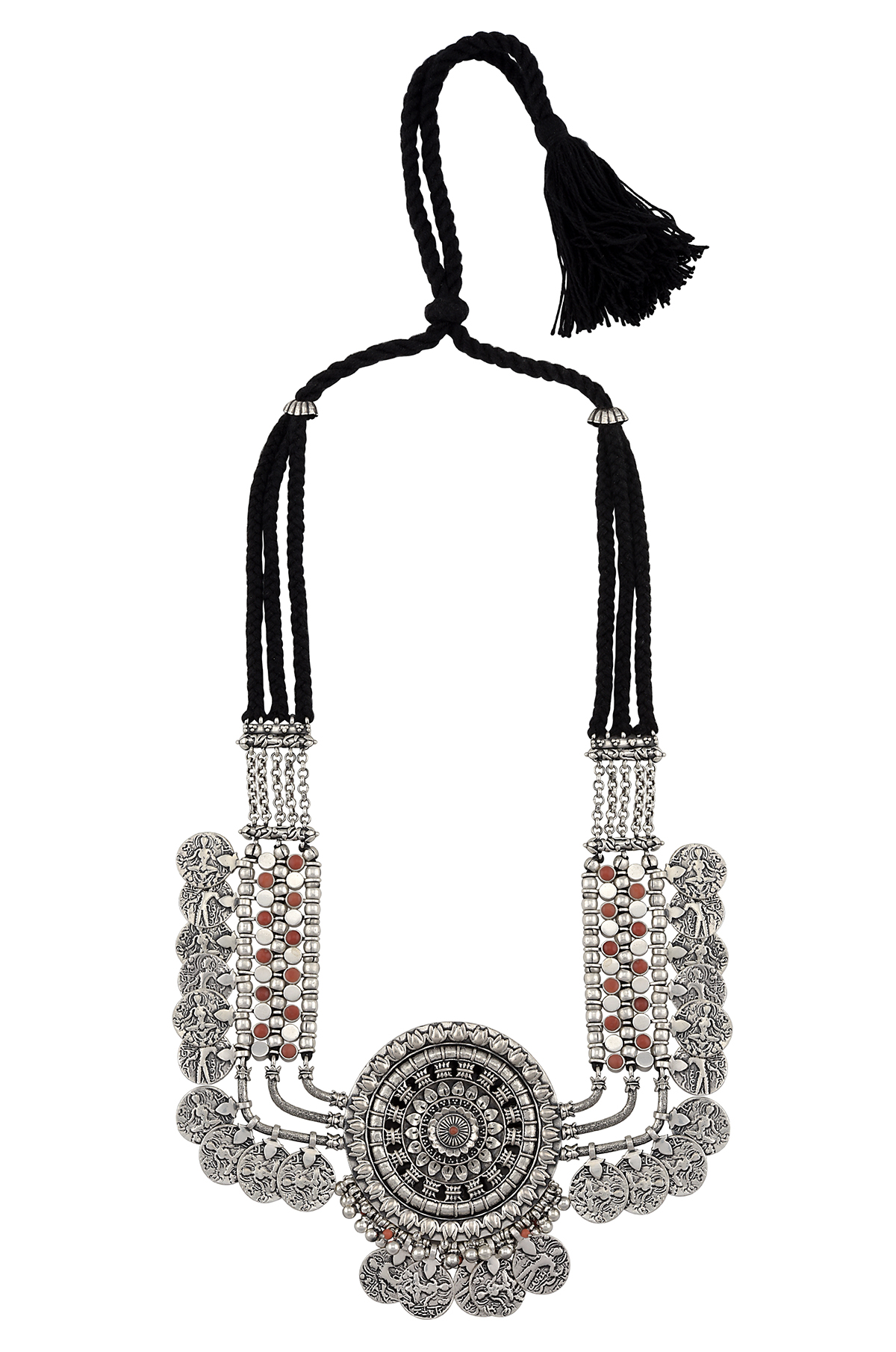 Silver Chakra Coin Rawa Necklace