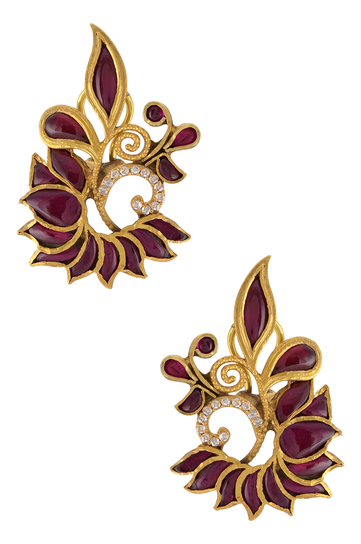 Silver Gold Plated Red Glass Leafy Ear Studs