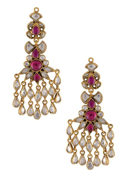 Silver Gold Plated Pink White Glass Floral Earrings